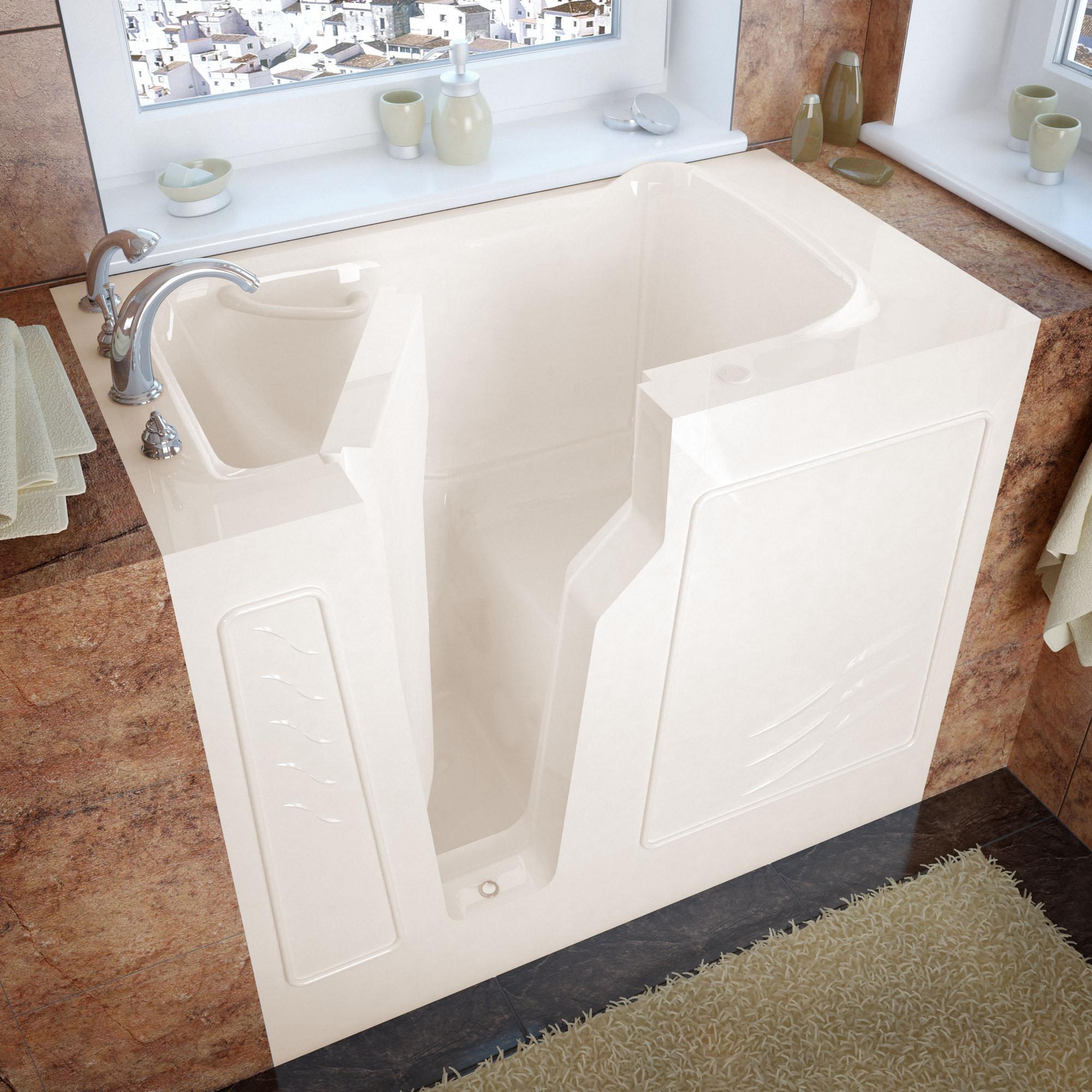 MediTub 2646LBS Walk-In 26 x 46 Left Drain Biscuit Soaking Bathtub