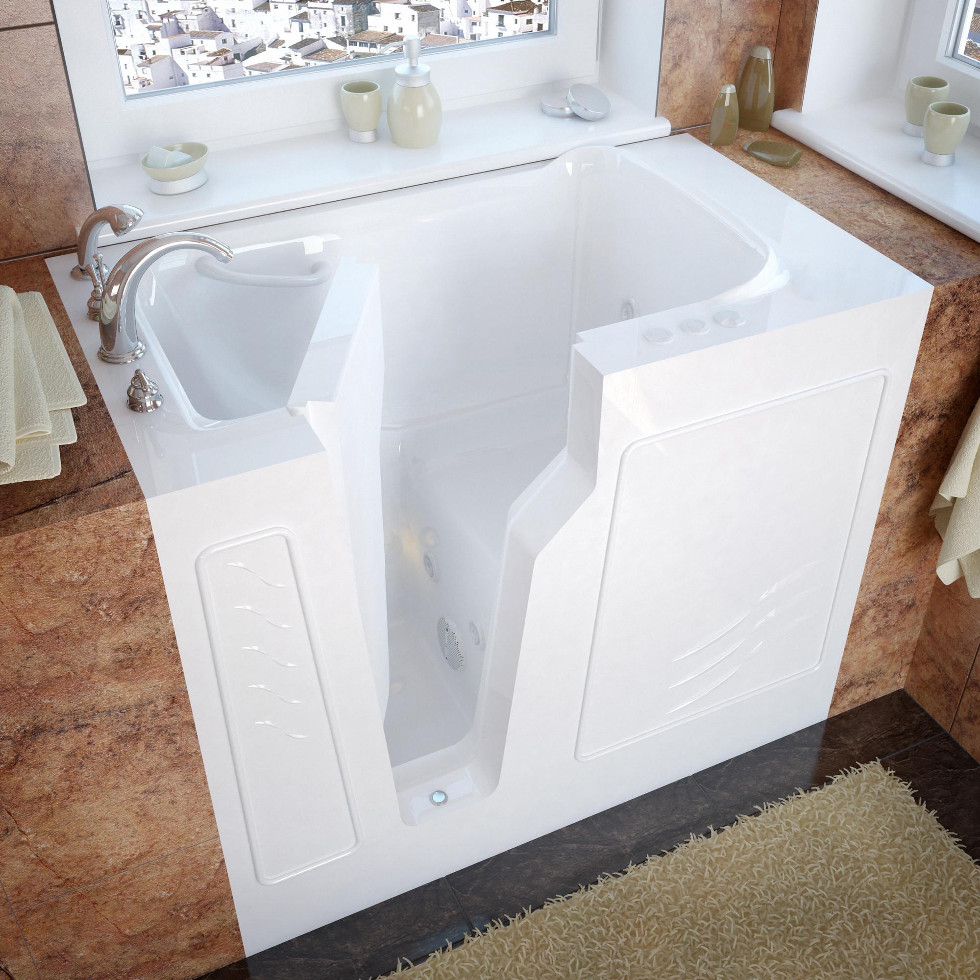 MediTub 2646LWH Walk-In 26 x 46 Left Drain White Whirlpool Jetted Bathtub