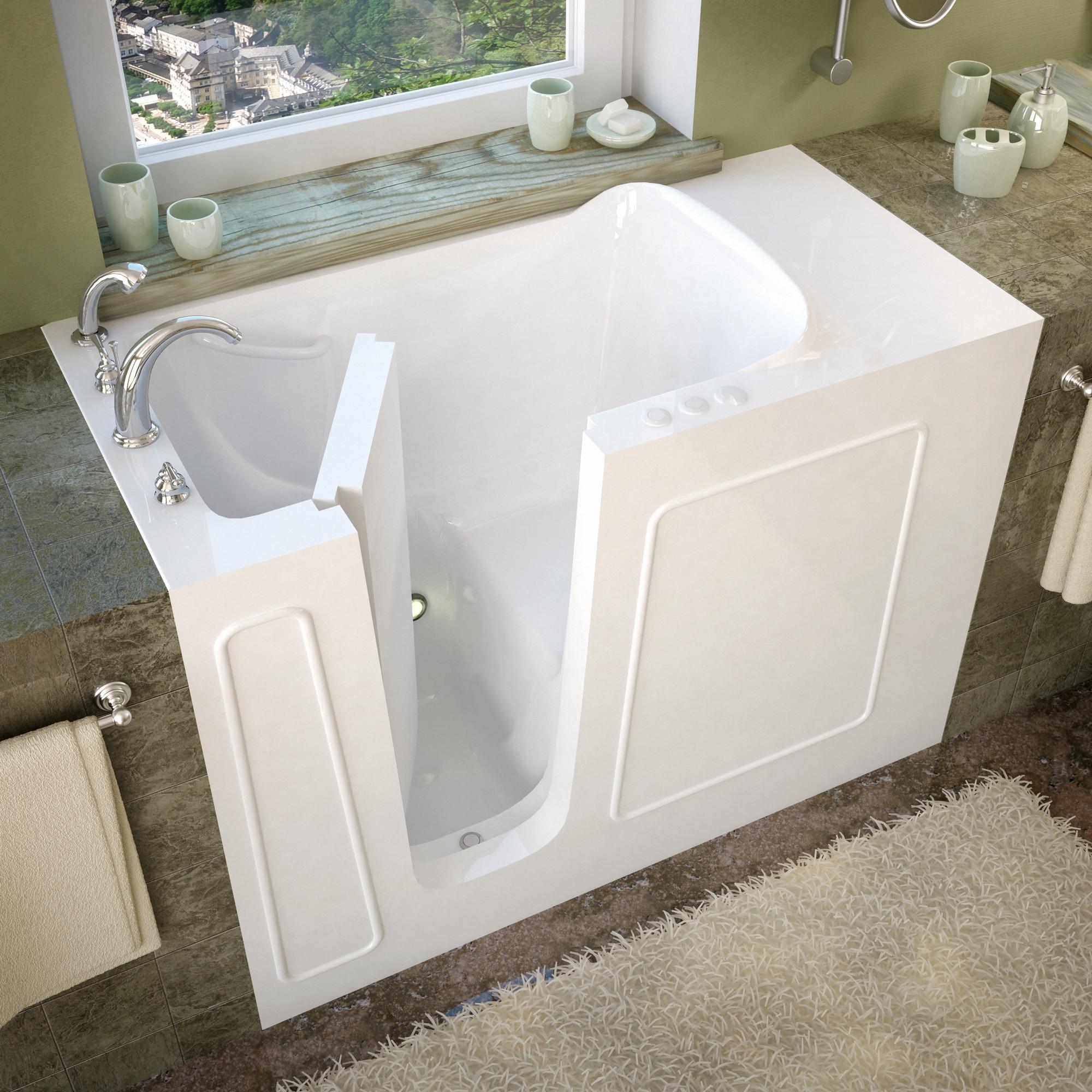 MediTub 2653LWS Walk-In 26 x 53 Left Drain White Soaking Bathtub