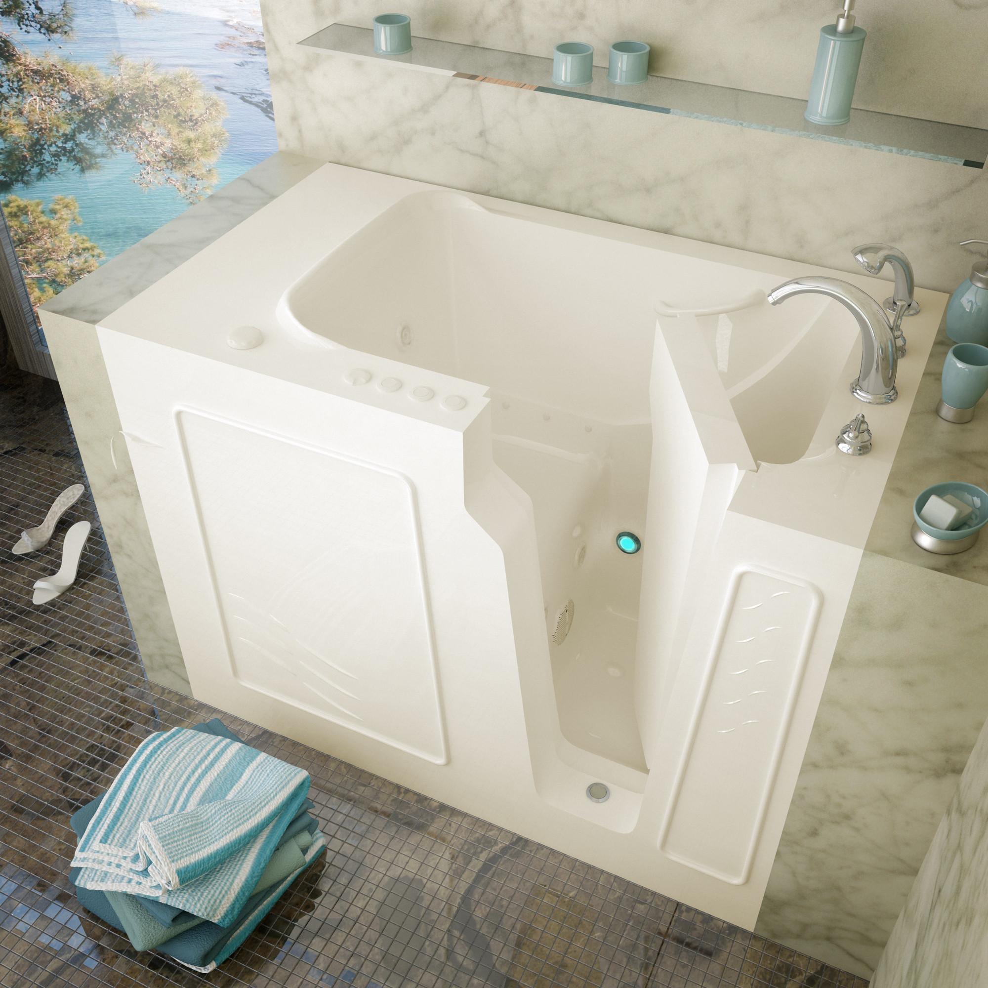 MediTub 2952LBD Walk-In Left Drain Biscuit Whirlpool & Air Jetted Bathtub