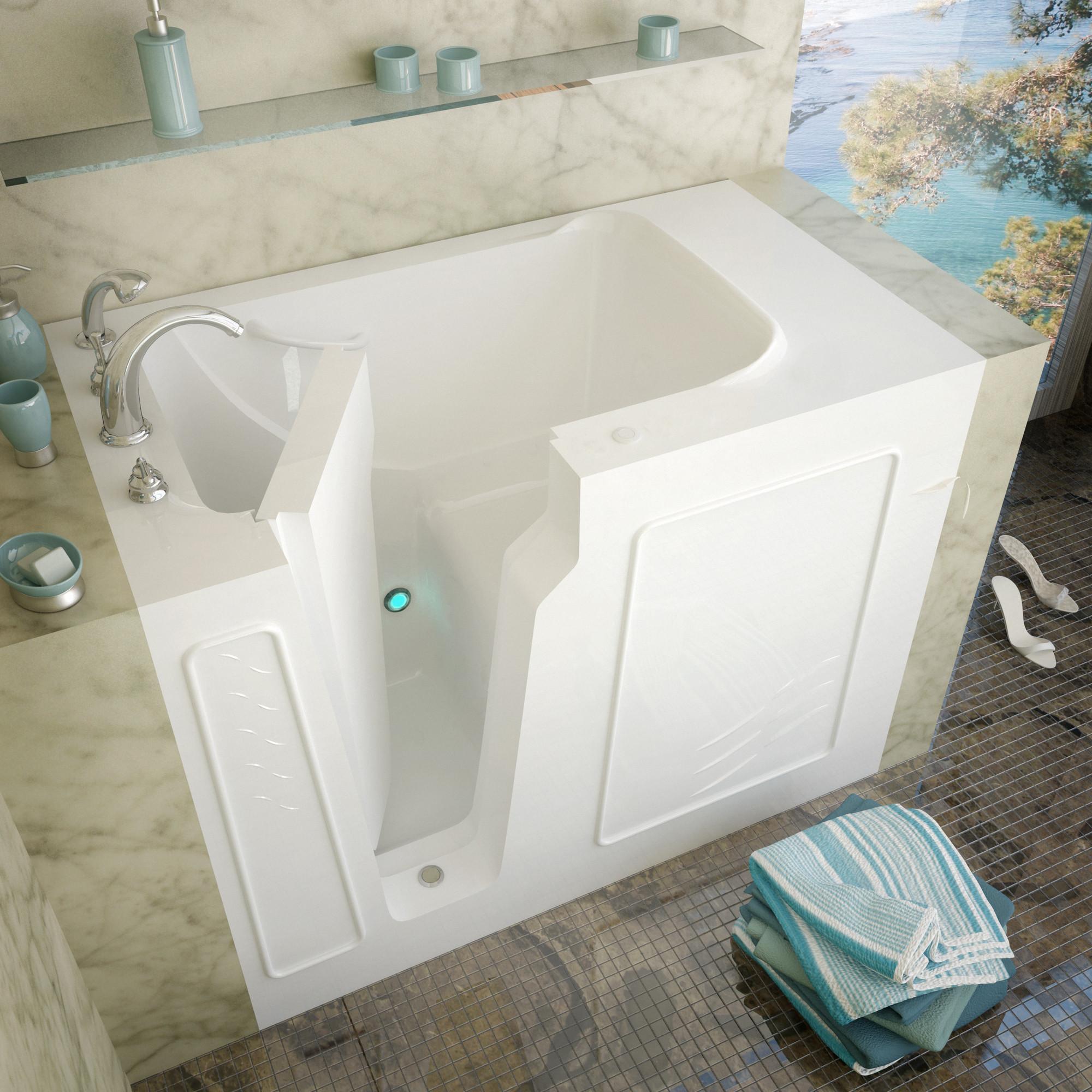 MediTub 2952LWS Walk-In 29 x 52 Left Drain White Soaking Bathtub