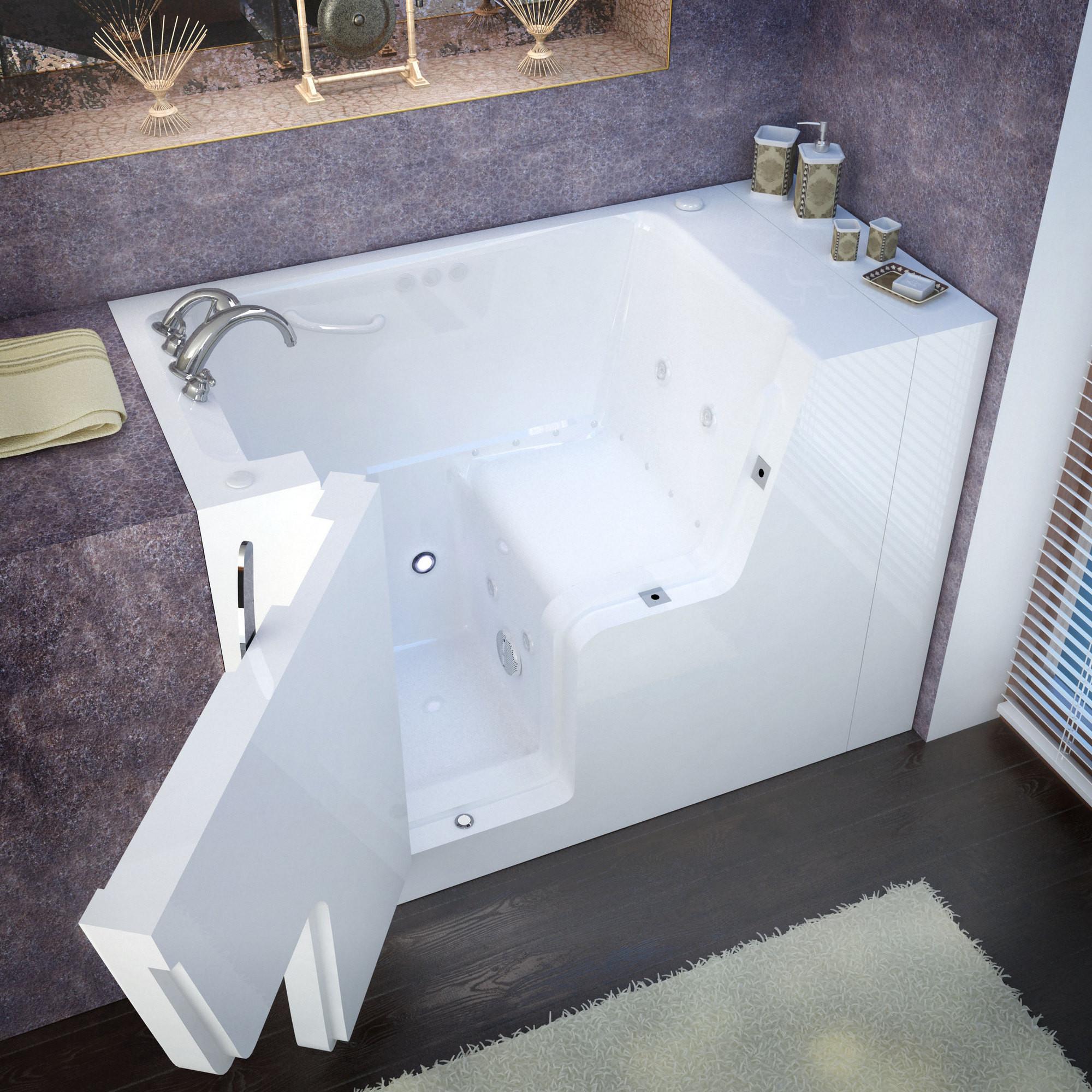 MediTub 2953WCALWD Wheel Chair Accessible Left Drain Whirlpool & Air Jetted Bathtub