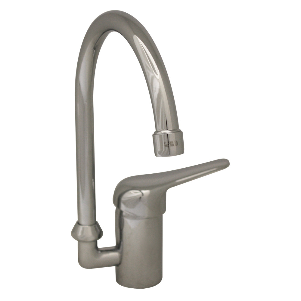 Whitehaus 3-2851-C Modern Goose Neck Single Hole Prep Swivel Kitchen Faucet