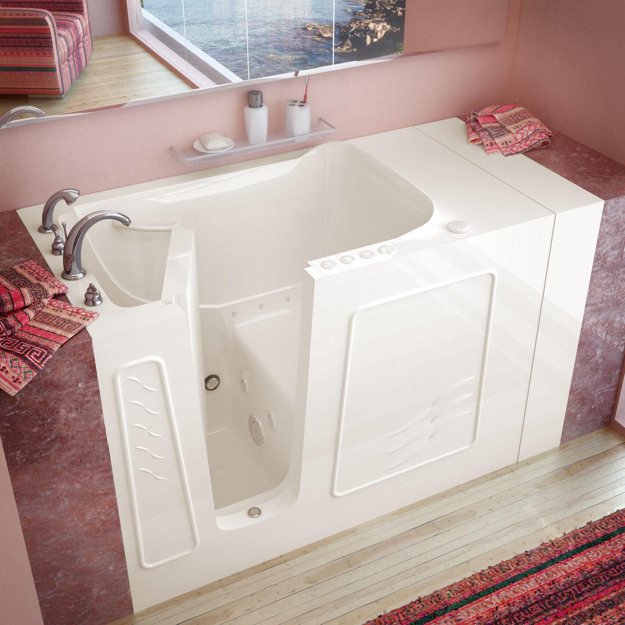 MediTub 3053LBD Walk-In 30 x 53 Inch Biscuit Whirlpool & Air Jetted Bathtub