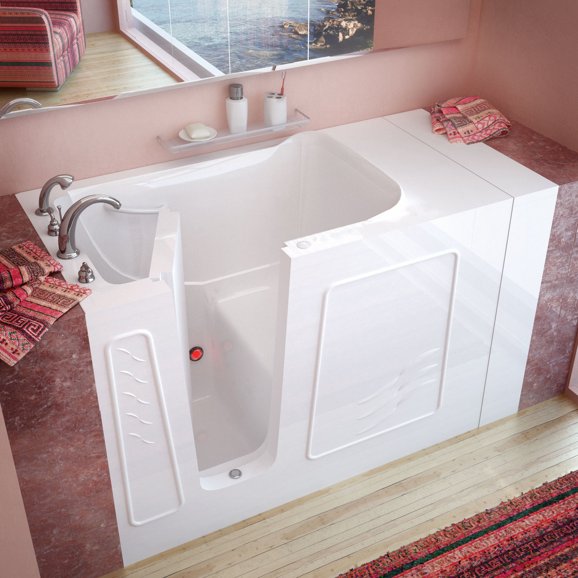 MediTub 3053LWS Walk-In 30 x 53 Left Drain White Soaking Bathtub