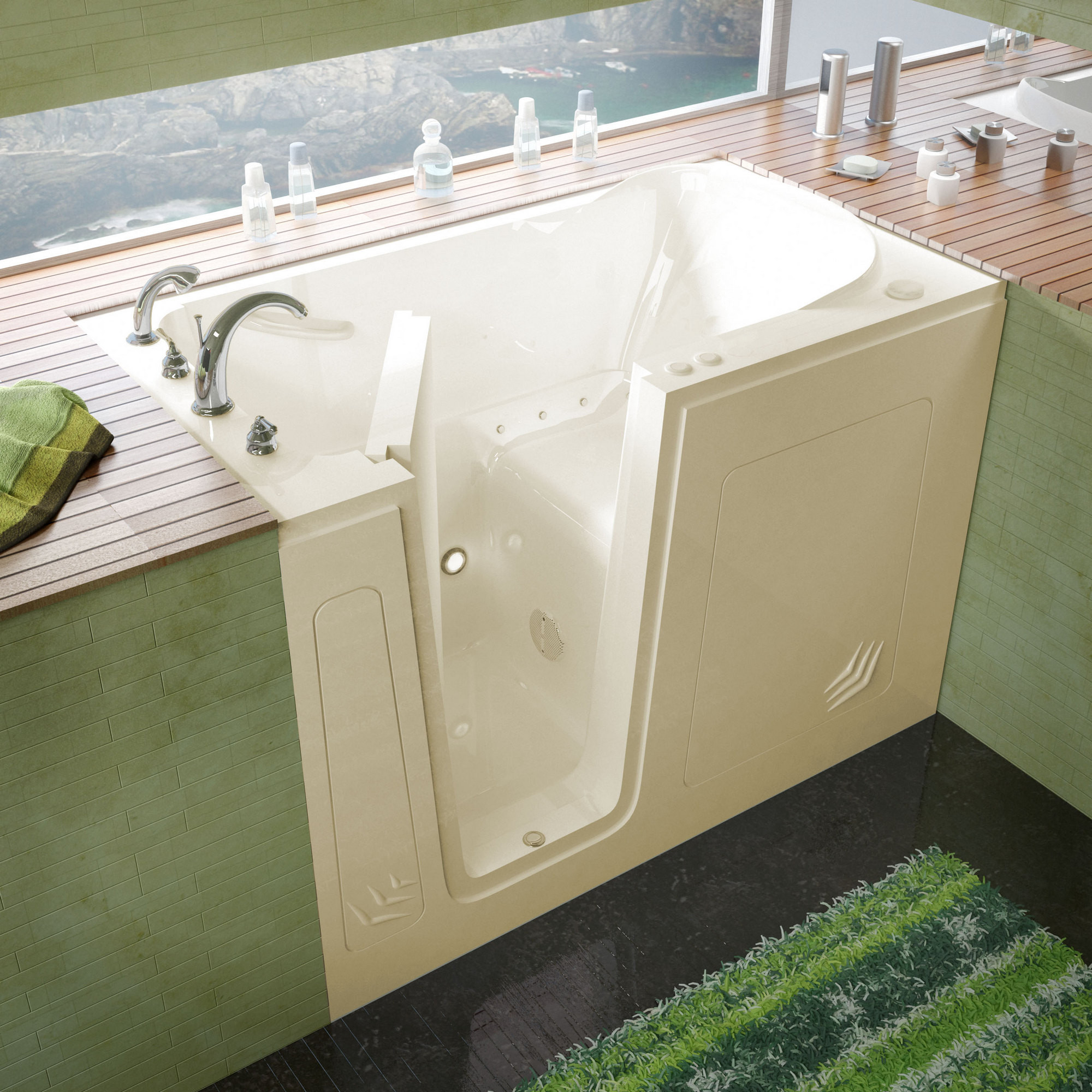 MediTub 3054LBA Walk-In 30 x 54 Left Drain Biscuit Air Jetted Bathtub
