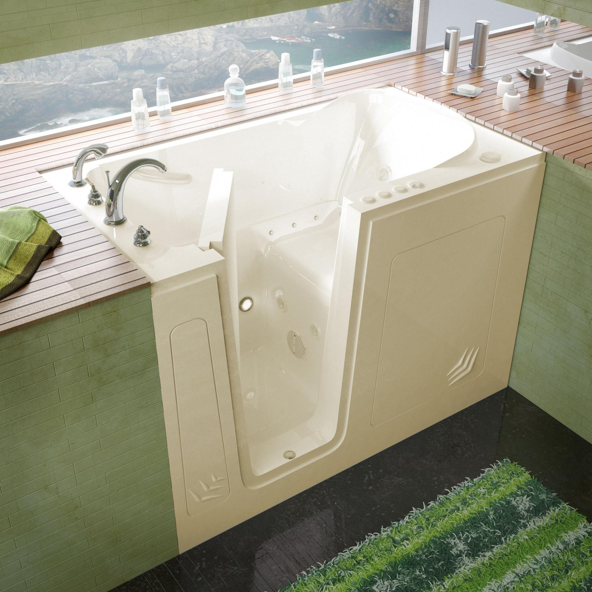 MediTub 3054LBD Walk-In 30 x 54 Left Drain Whirlpool & Air Jetted Bathtub