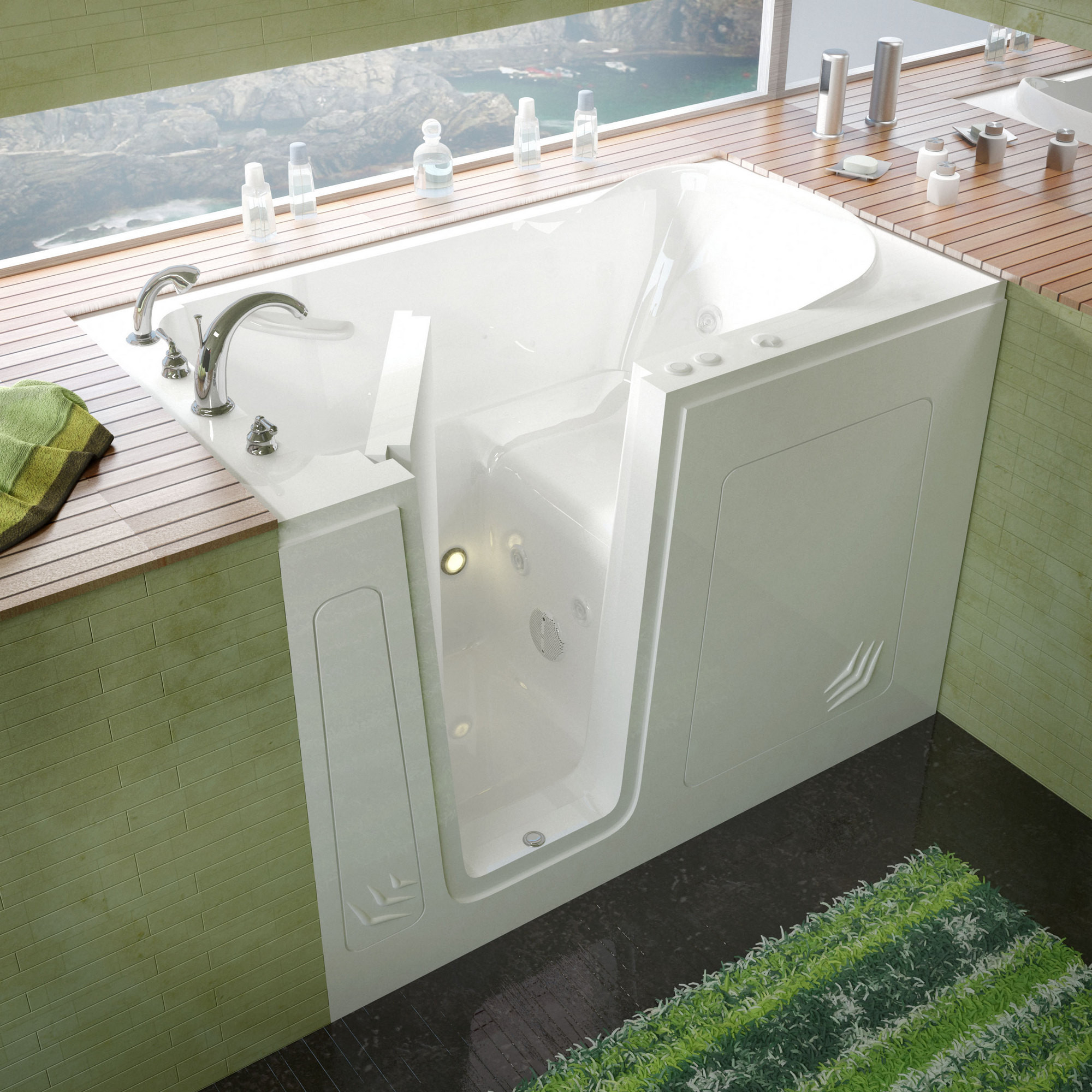 MediTub 3054LWH Walk-In 30 x 54 Left Drain White Whirlpool Jetted Bathtub
