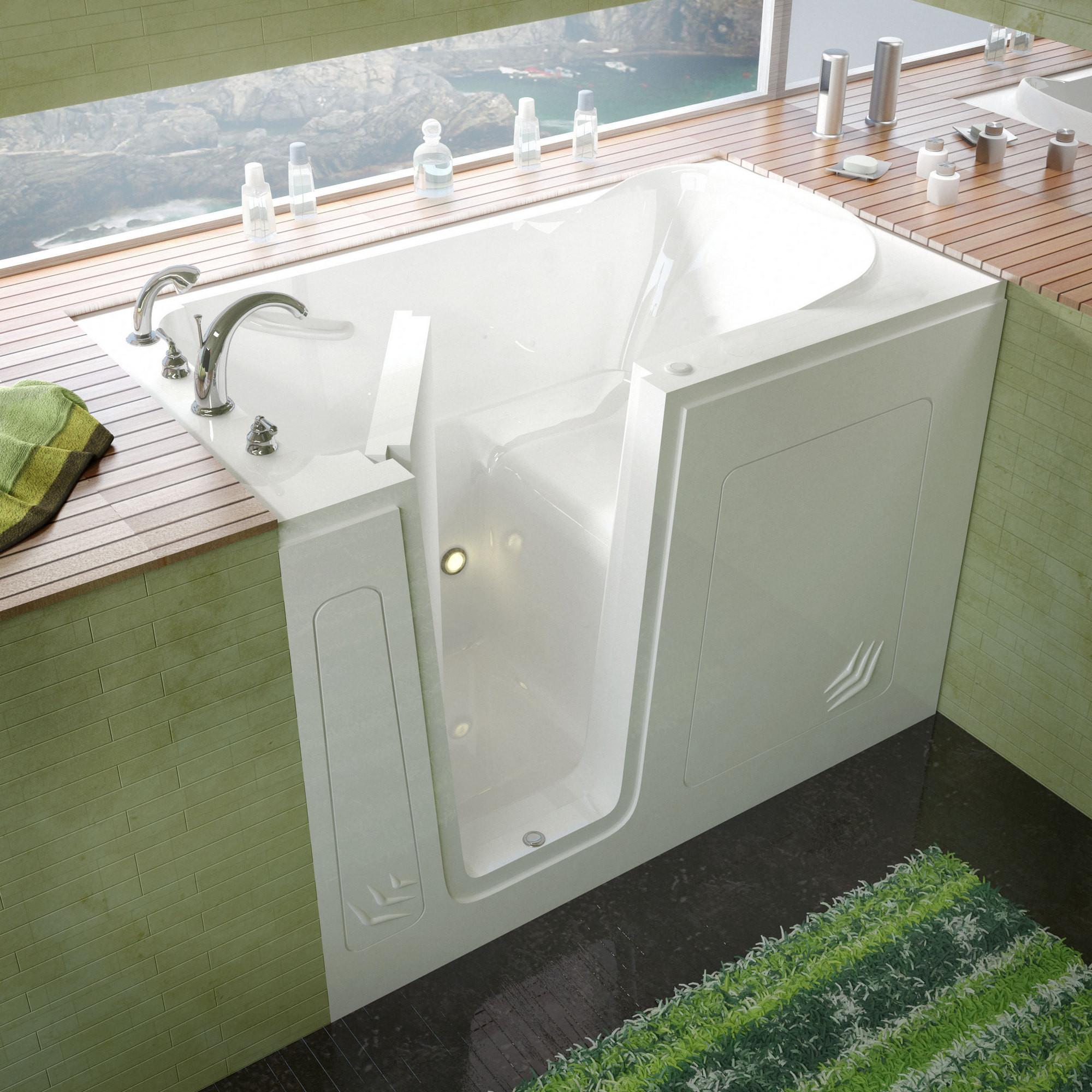 MediTub 3054LWS Walk-In 30 x 54 Left Drain White Soaking Bathtub