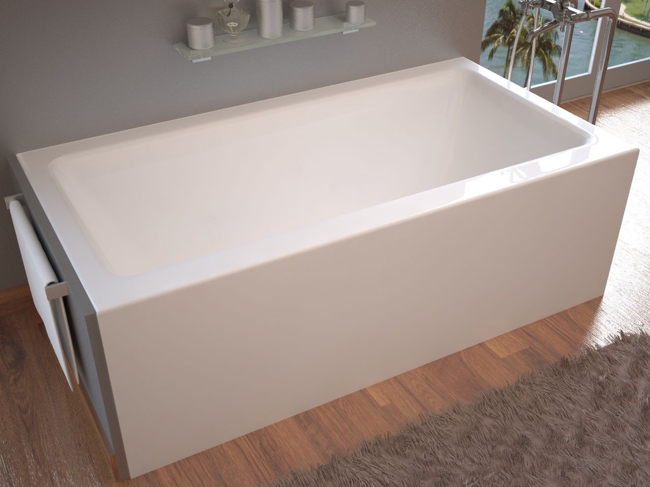 MediTub 3060SHAL Soho Front Skirted Air Massage Bathtub With Left Drain