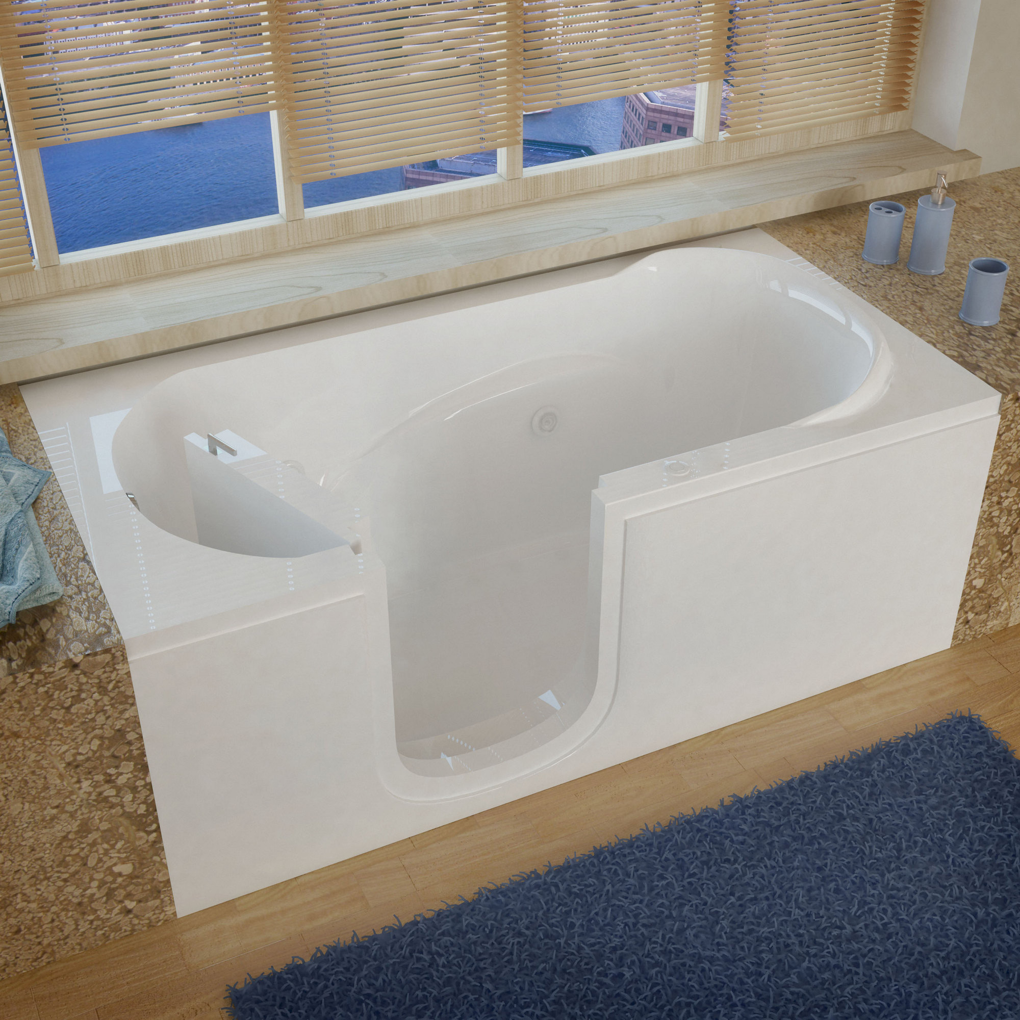 MediTub 3060SILWH Step-In Left Drain White Whirlpool Jetted Step-In Bathtub
