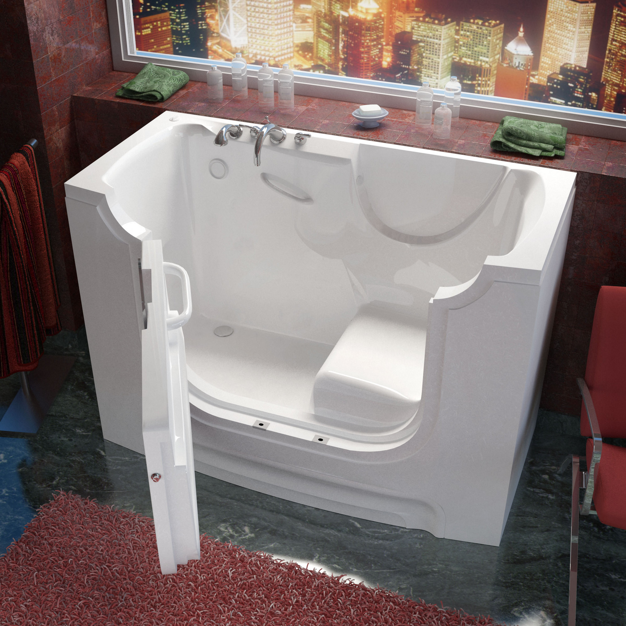 MediTub 3060WCALWS Wheel Chair Accessible Left Drain White Soaking Bathtub