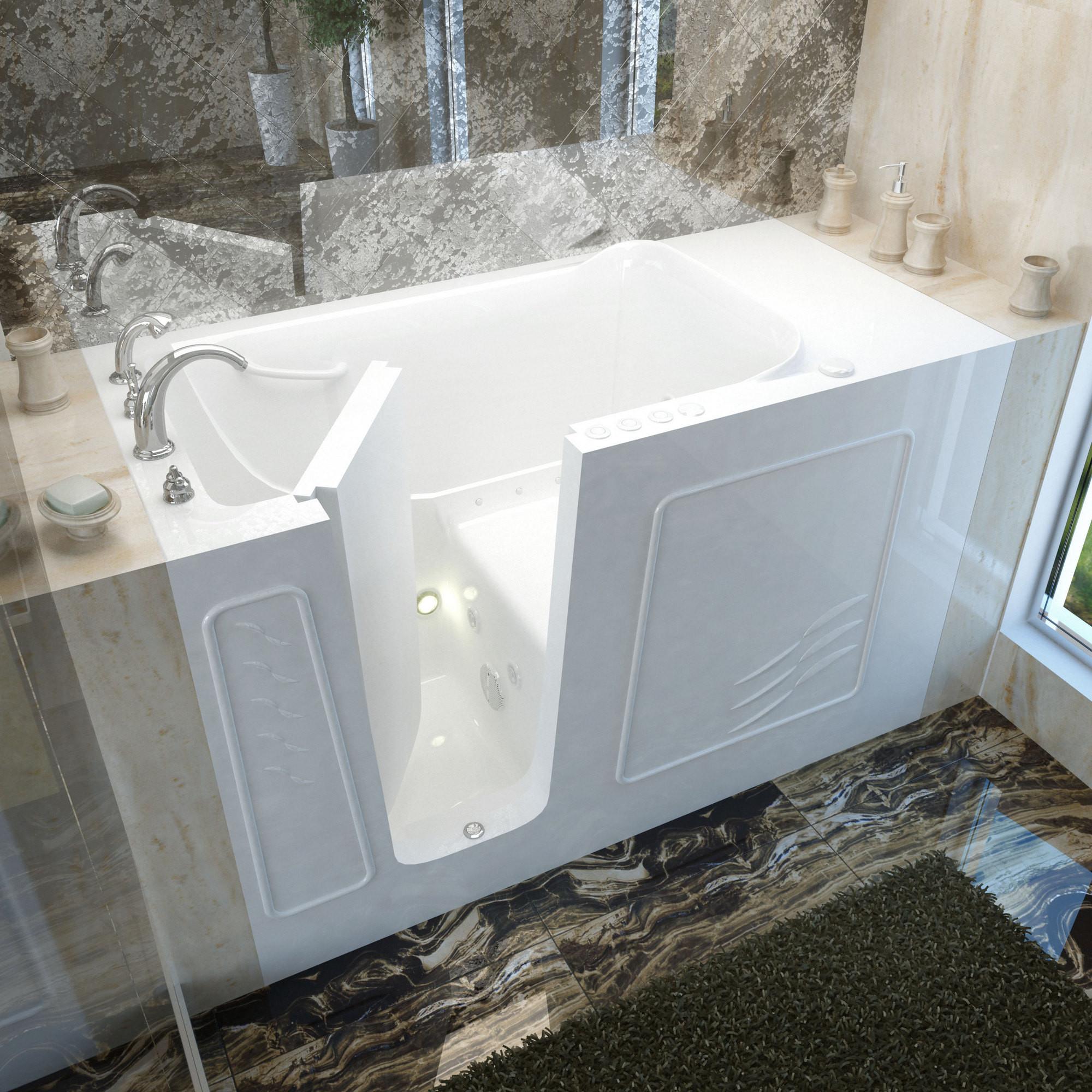 MediTub 3060WILWD Walk-In Left Drain White Whirlpool & Air Jetted Bathtub