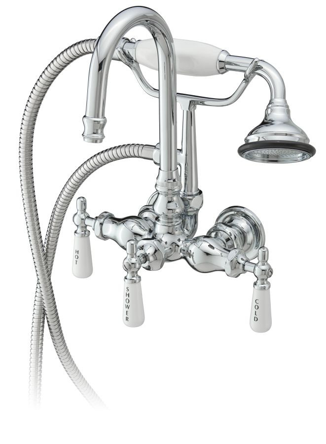 Cheviot 3107 Dual Flush Goose Neck Bathtub Filler with Hand Shower