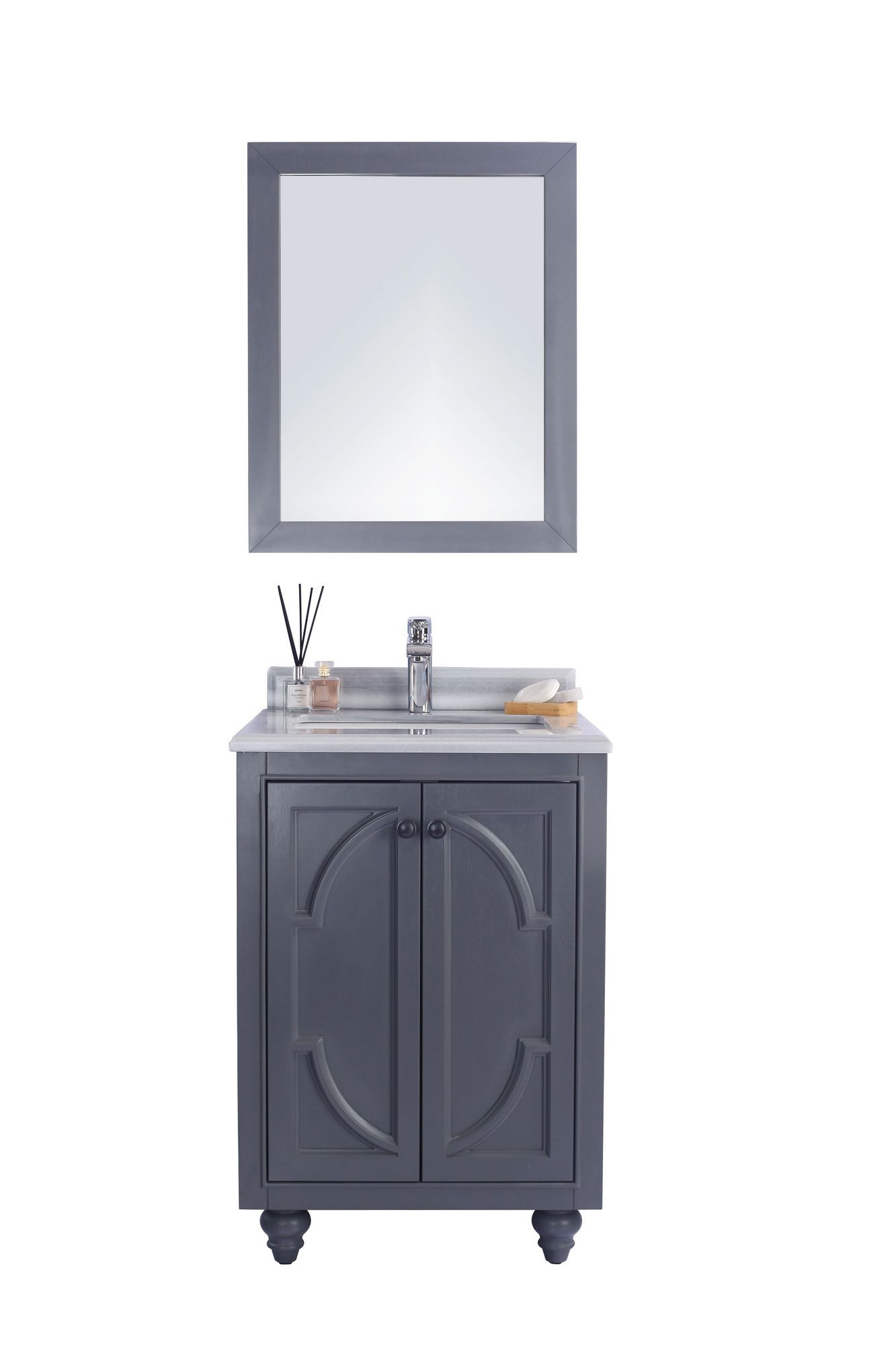 "Laviva 313613-24G-WS Odyssey 24"" Maple Grey Vanity w/ White Stripes Counter"