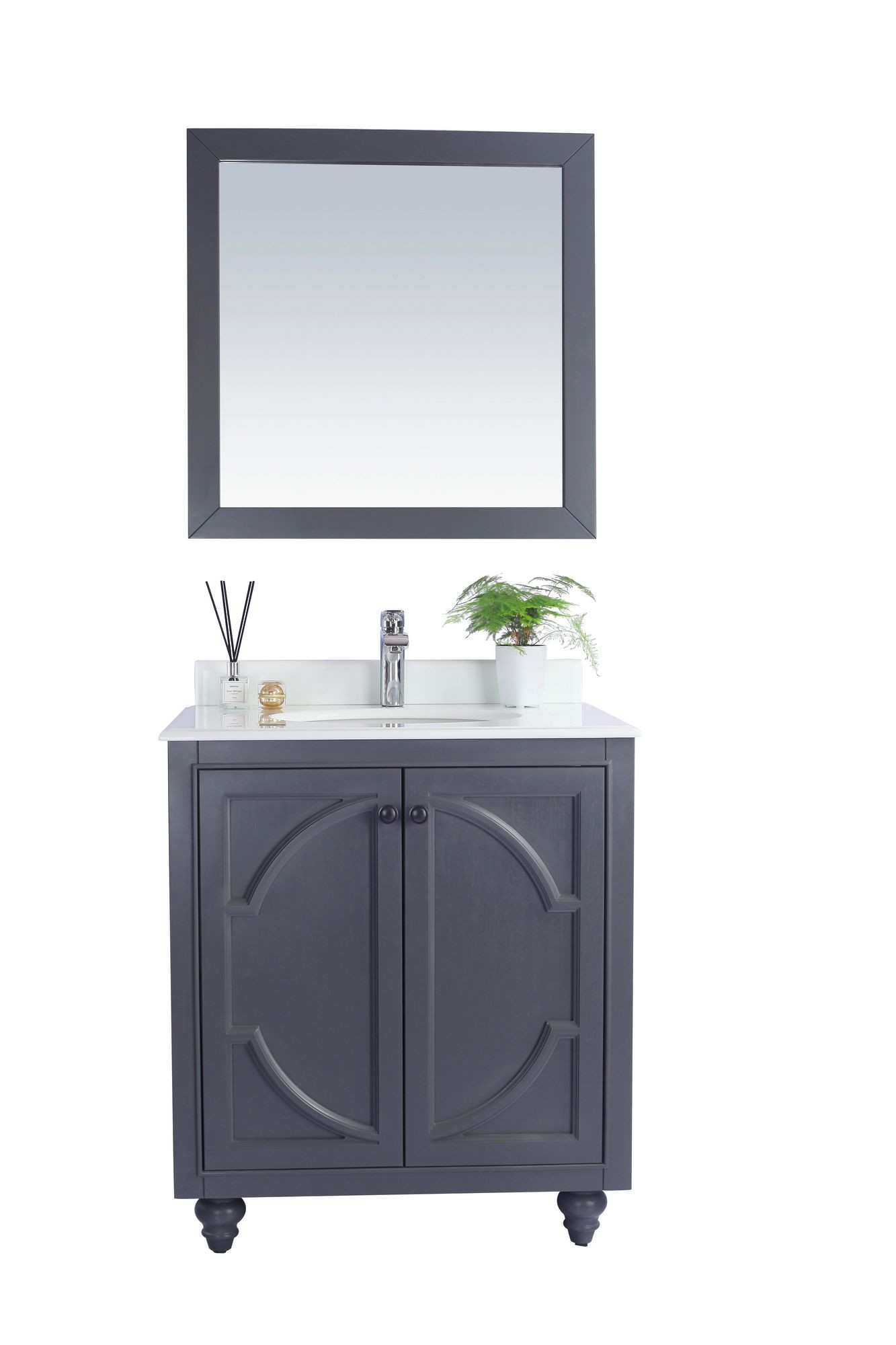Laviva 313613-30G-PQ Odyssey 30 Inch Maple Vanity With Pure White Counter