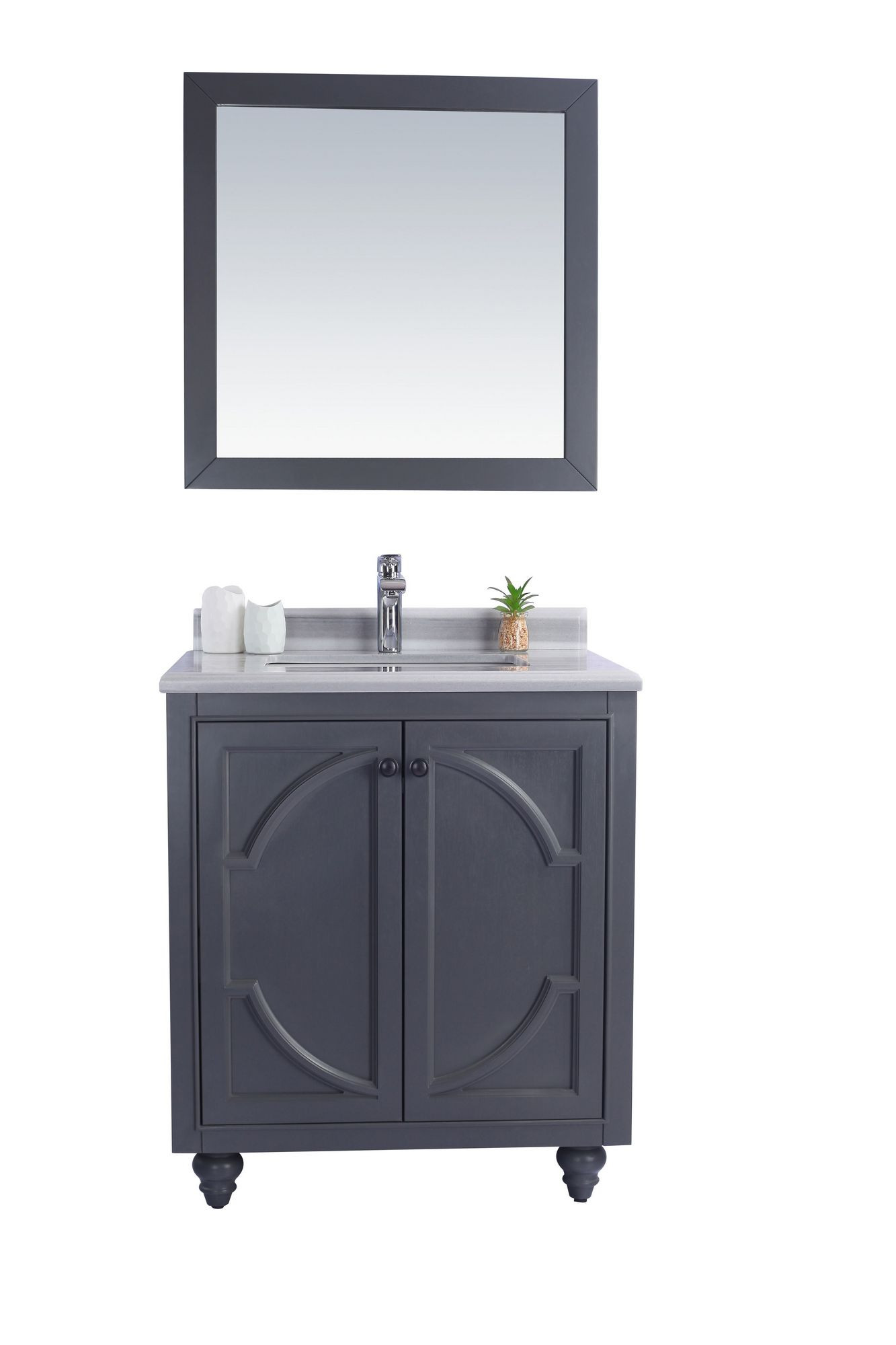 """Laviva 313613-30G-WS Odyssey 30"""" Maple Grey Vanity w/ White Stripes Counter"""