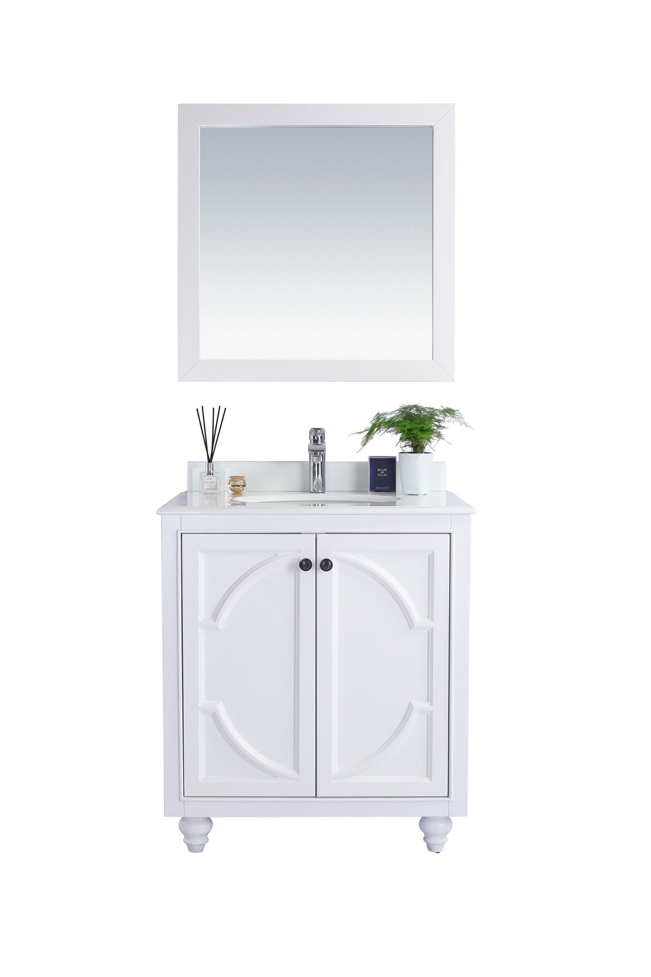Laviva 313613-30W-PW Odyssey 30 Inch White Vanity With Pure White Counter