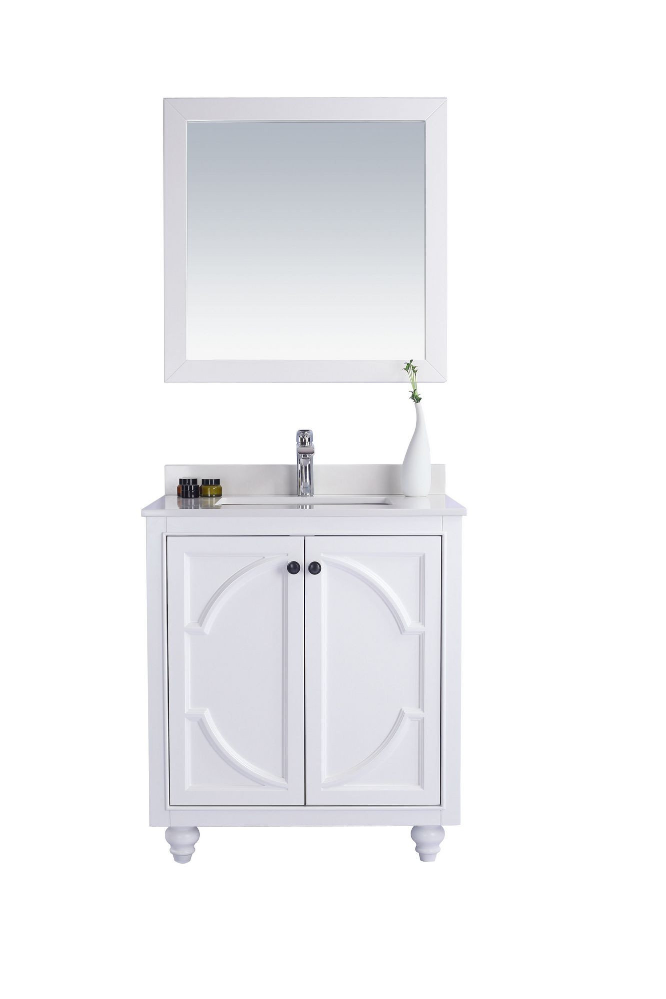 Laviva 313613-30W-WQ Odyssey 30 Inch White Vanity With White Quartz Counter