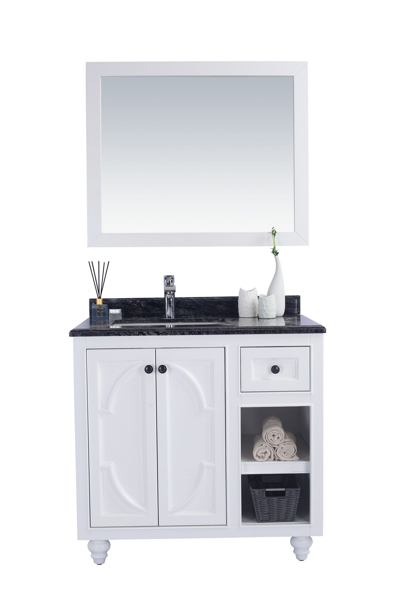 Laviva 313613-36W-BW Odyssey 36 Inch White Vanity With Black Wood Counter