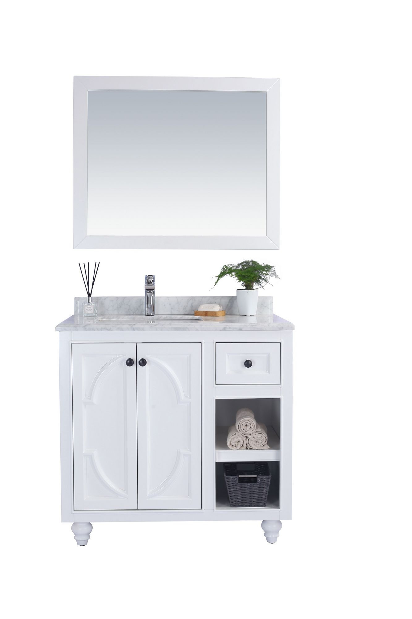 "Laviva 313613-36W-WC Odyssey 36"" White Vanity w/ White Carrera Counter"