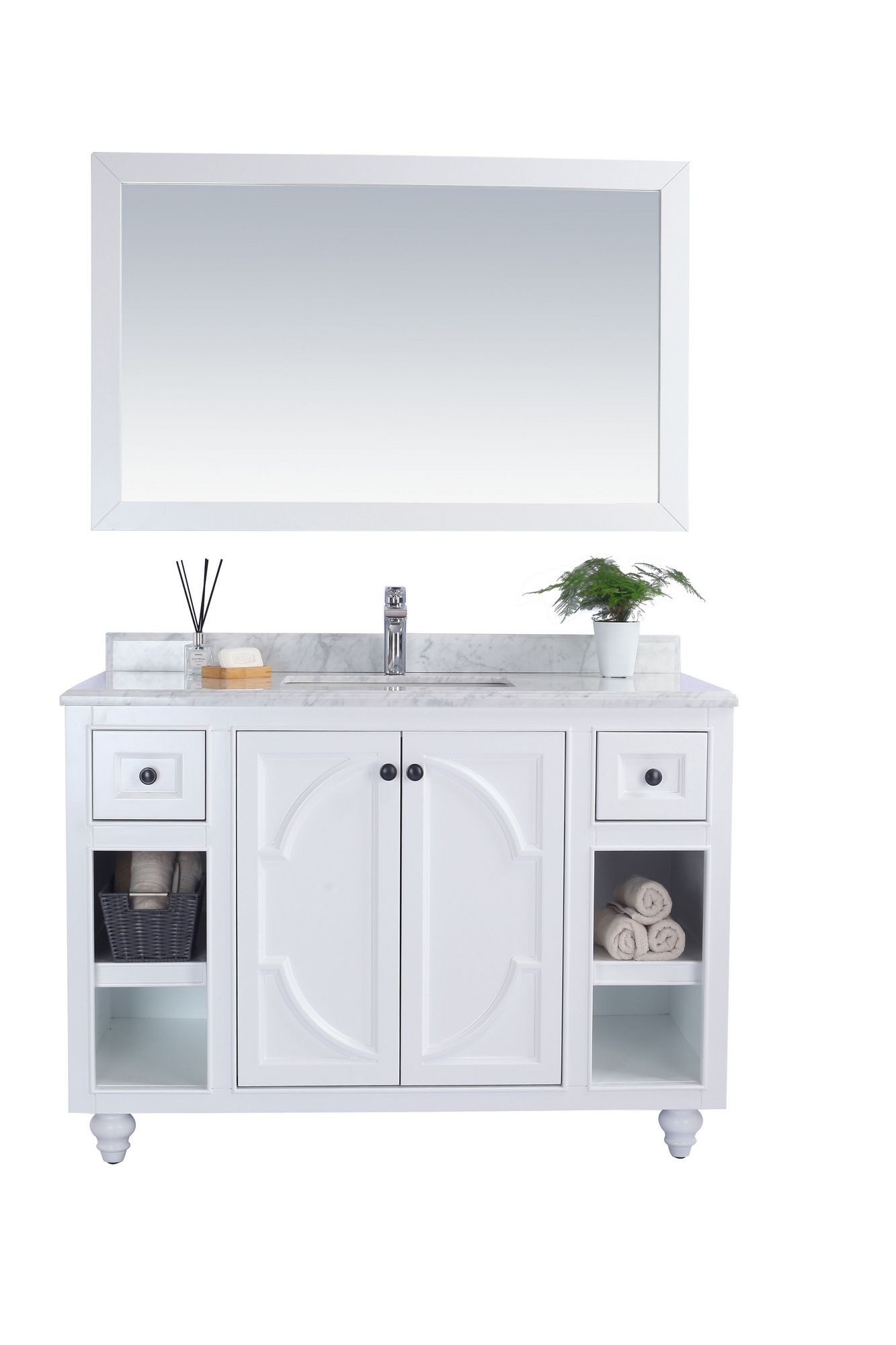 "Laviva 313613-48W-WC Odyssey 48"" White Vanity With White Carrera Counter"