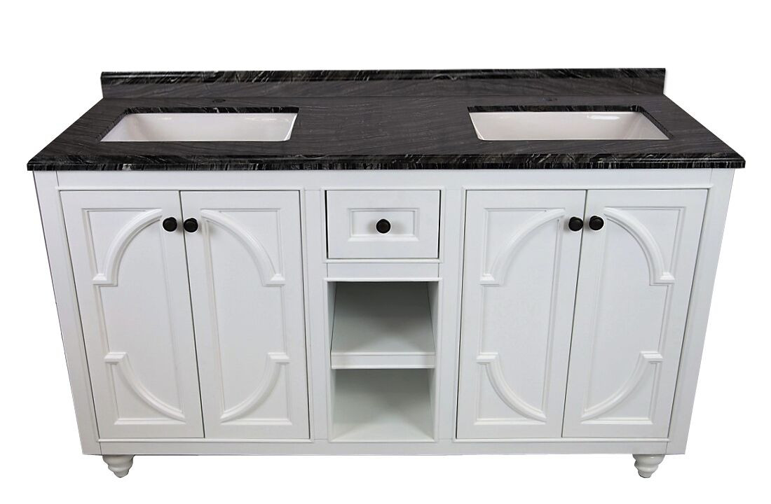 "Laviva 313613-60G-BW Odyssey 60"" Maple Grey Vanity With Black Wood Counter"