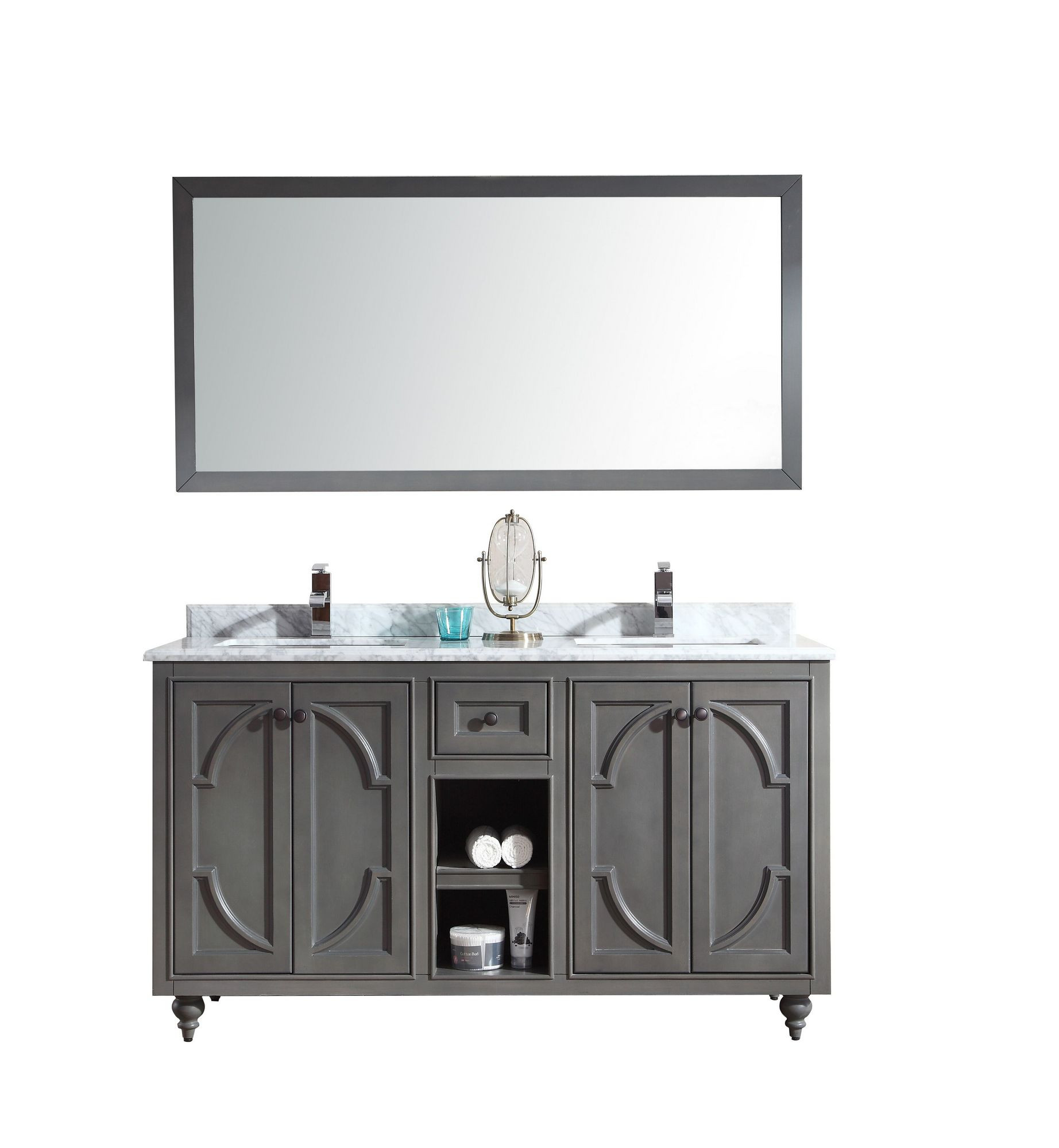 "Laviva 313613-60-WC Odyssey 60"" Maple Vanity With White Carrera Counter"
