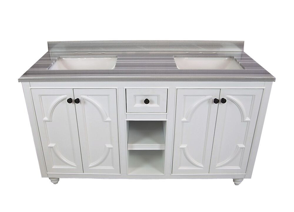 "Laviva 313613-60W-WS Odyssey 60"" White Vanity With White Stripes Counter"