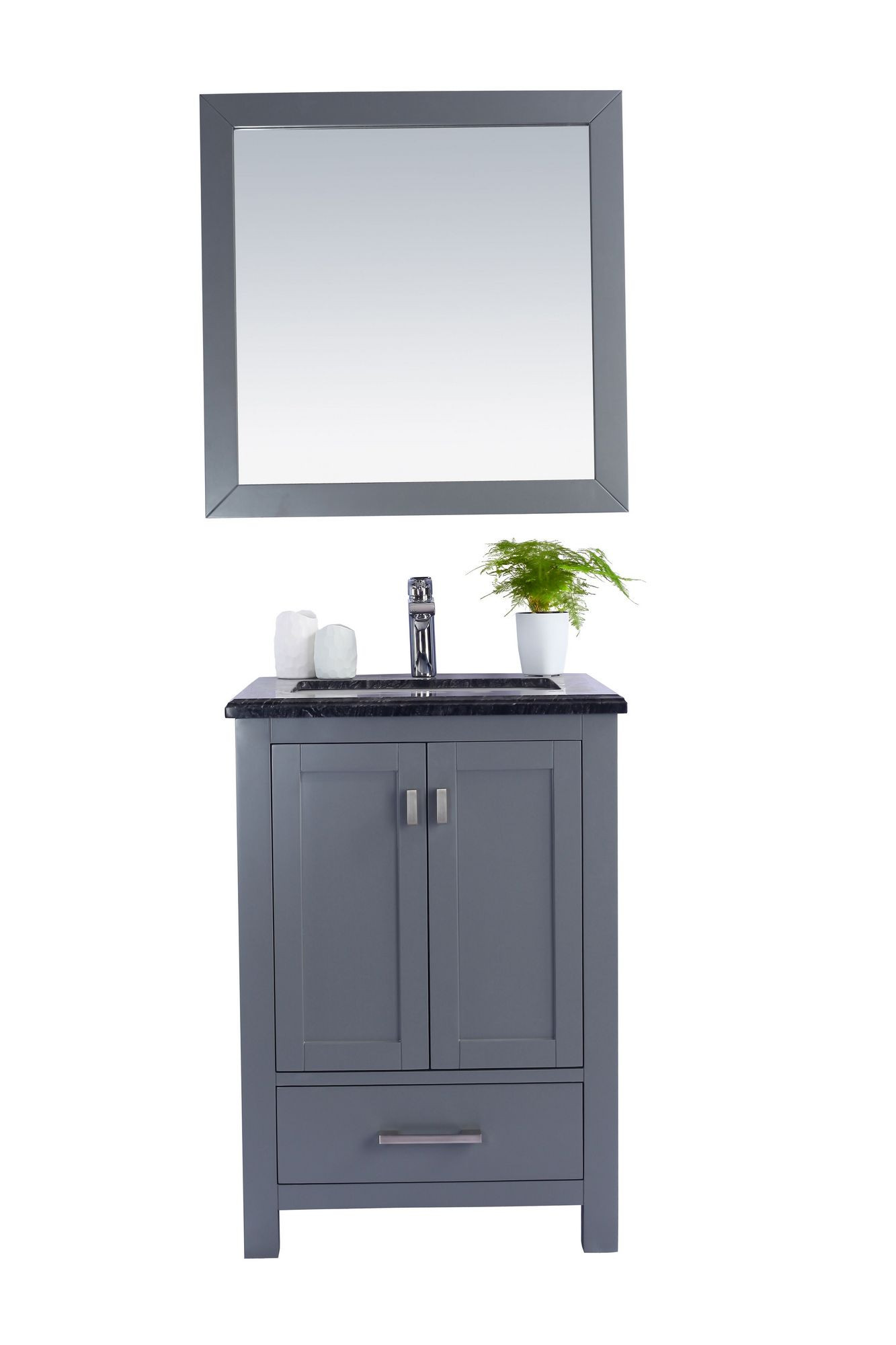 Laviva 313ANG-24G-BW Wilson 24 Inch Grey Vanity With Black Wood Countertop