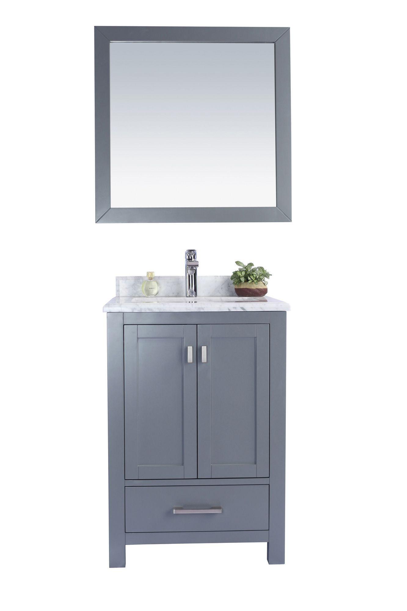 Laviva 313ANG-24G-WC Wilson 24 Inch Grey Vanity w/ White Carrara Countertop