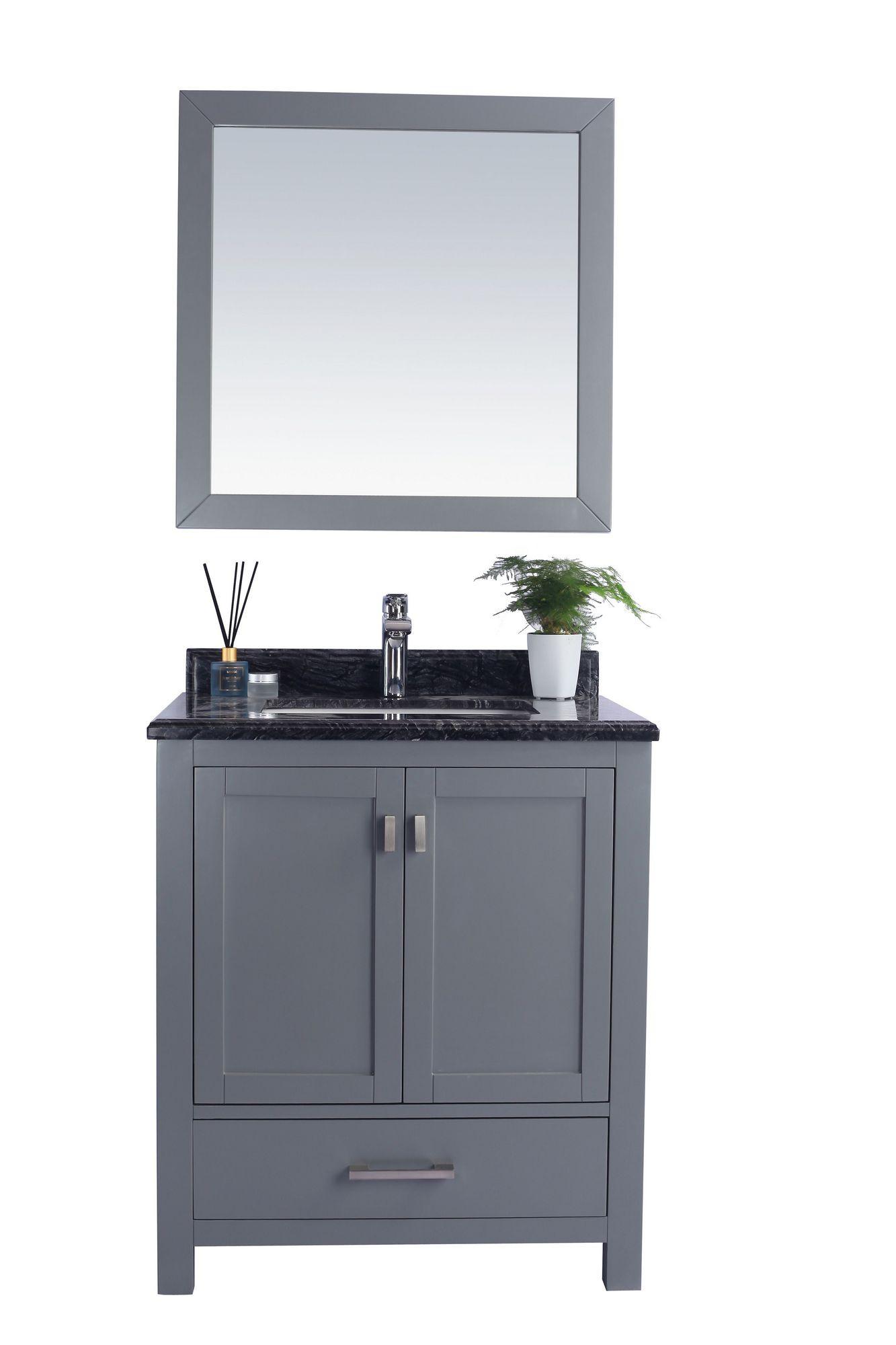 Laviva 313ANG-30G-BW Wilson 30 Inch Grey Vanity With Black Wood Countertop