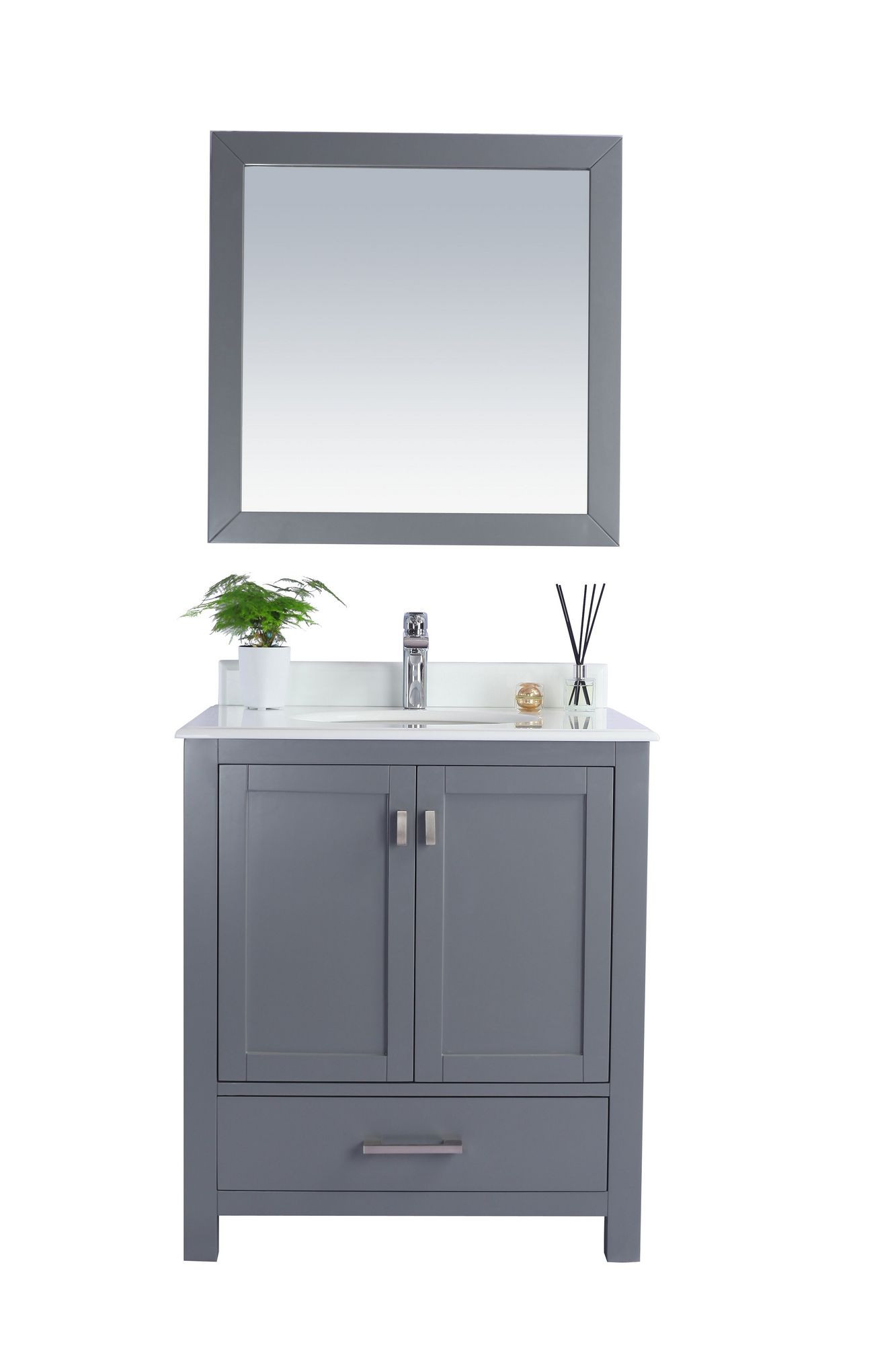 Laviva 313ANG-30G-PW Wilson 30 Inch Grey Vanity With Pure White Countertop