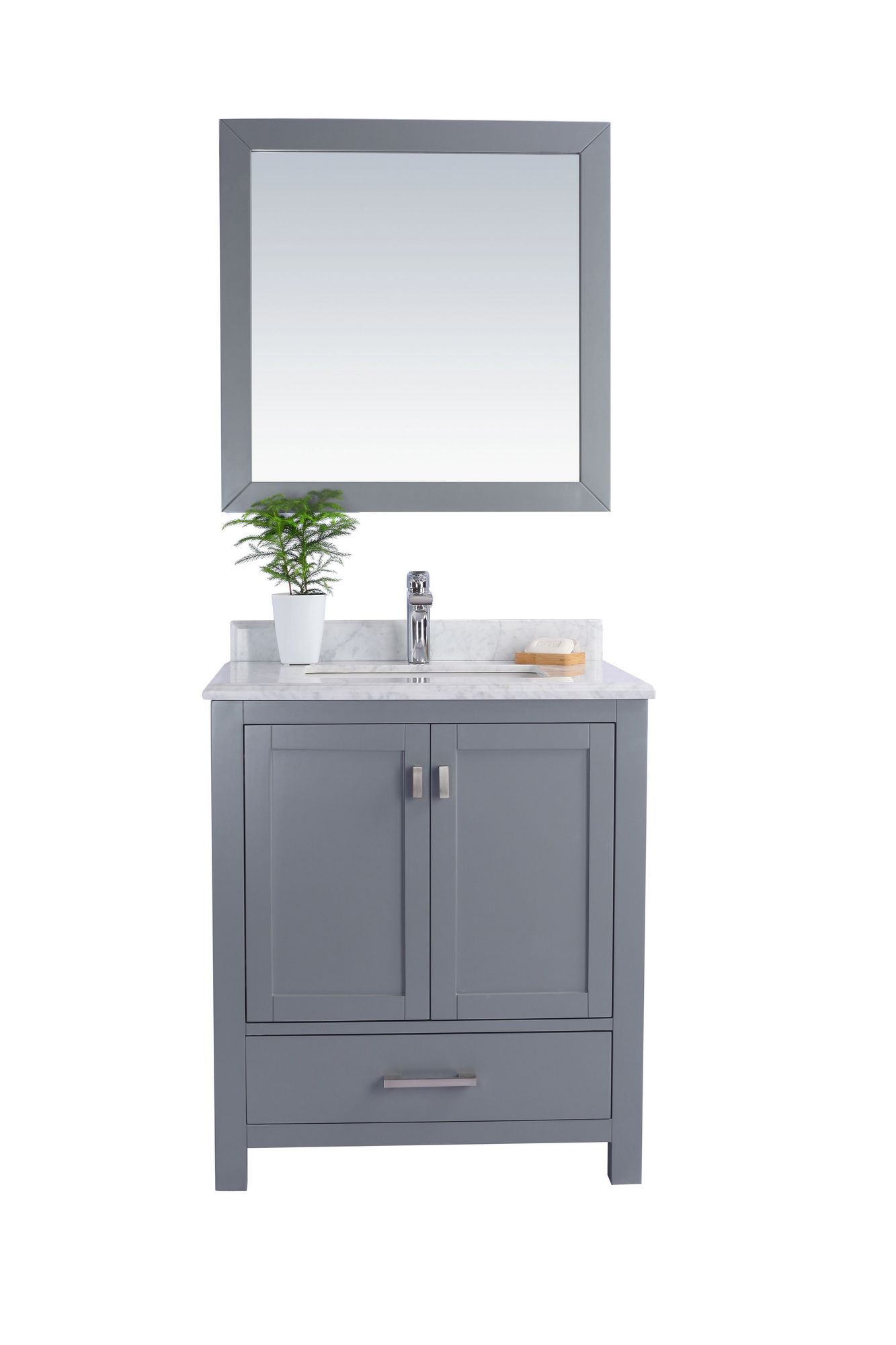"Laviva 313ANG-30G-WC Wilson 30"" Grey Vanity With White Carrara Countertop"