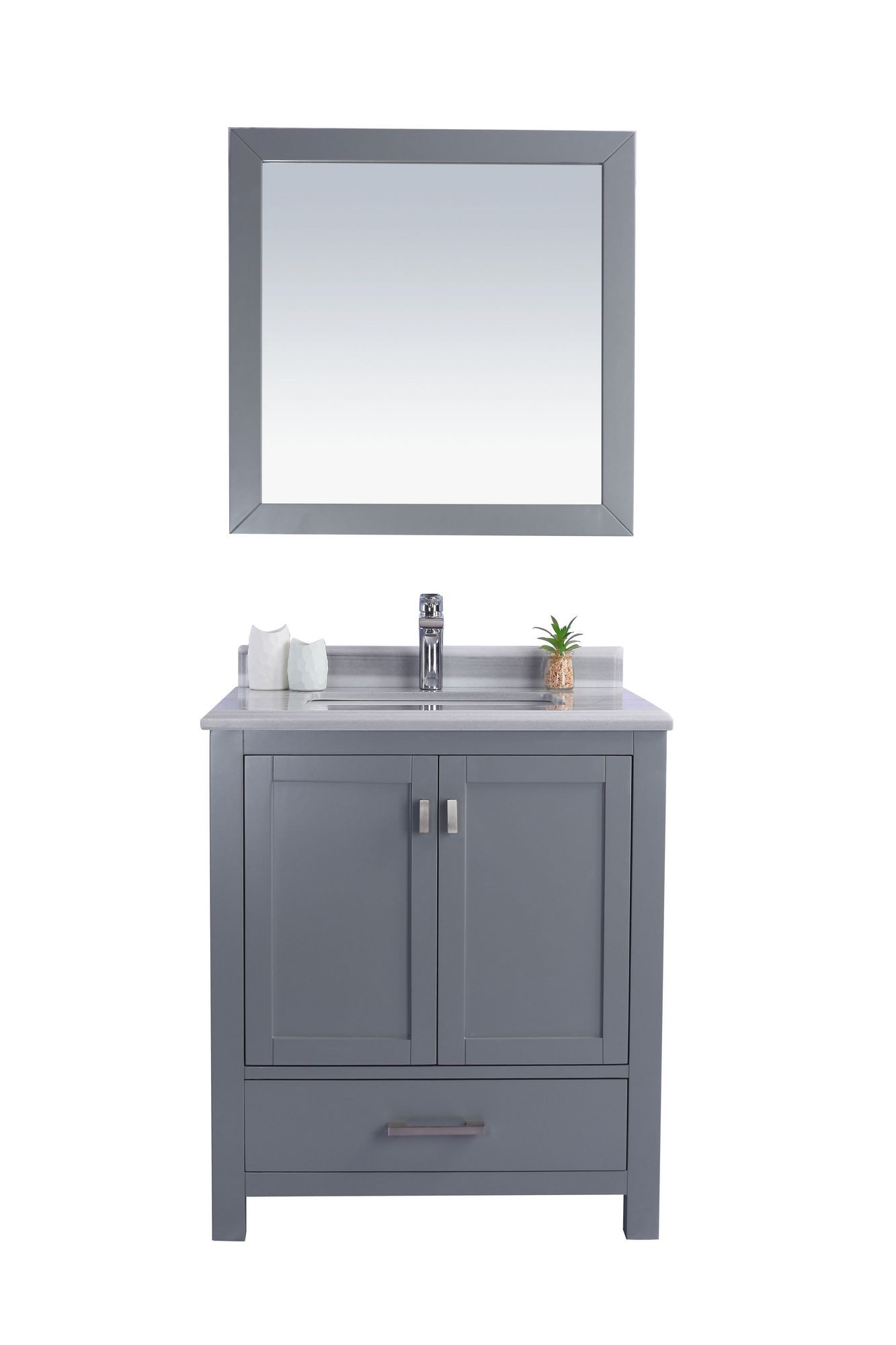 Laviva 313ANG-30G-WS Wilson Vanity In Grey With White Stripe Countertop
