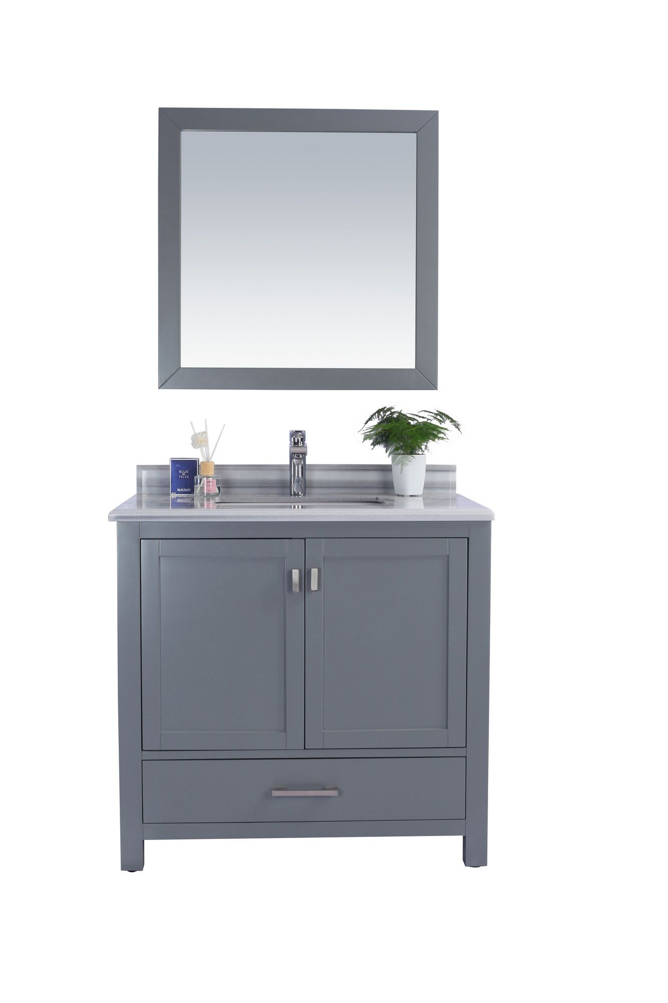 "Laviva 313ANG-36G-WS Wilson 36"" Grey Vanity With White Stripe Countertop"