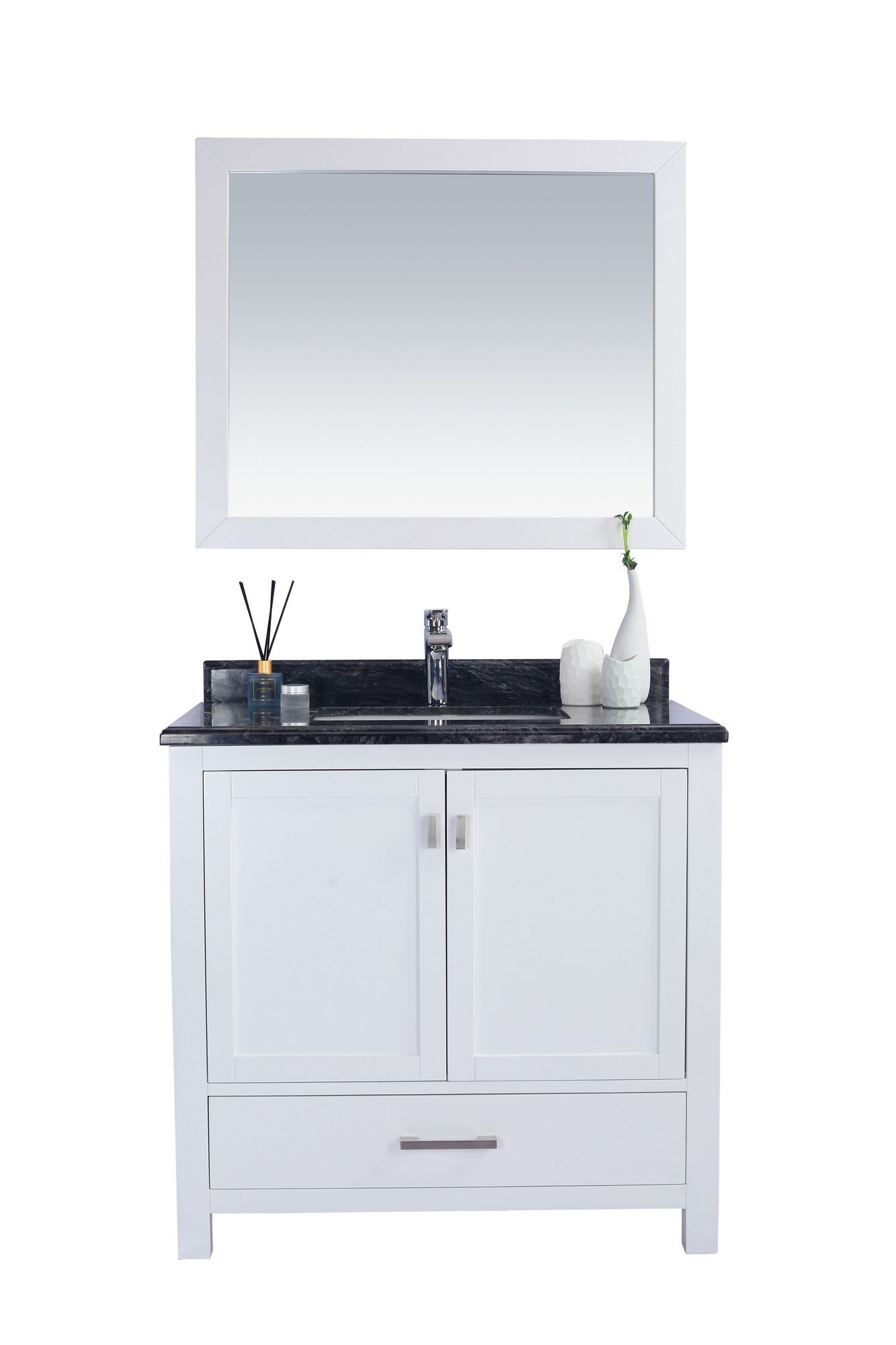 Laviva 313ANG-36W-BW Wilson 36 Inch White Vanity With Black Wood Countertop