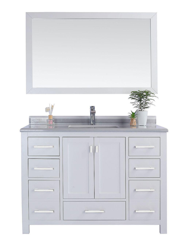 "Laviva 313ANG-48W-WS Wilson 48"" White Vanity With White Stripe Countertop"