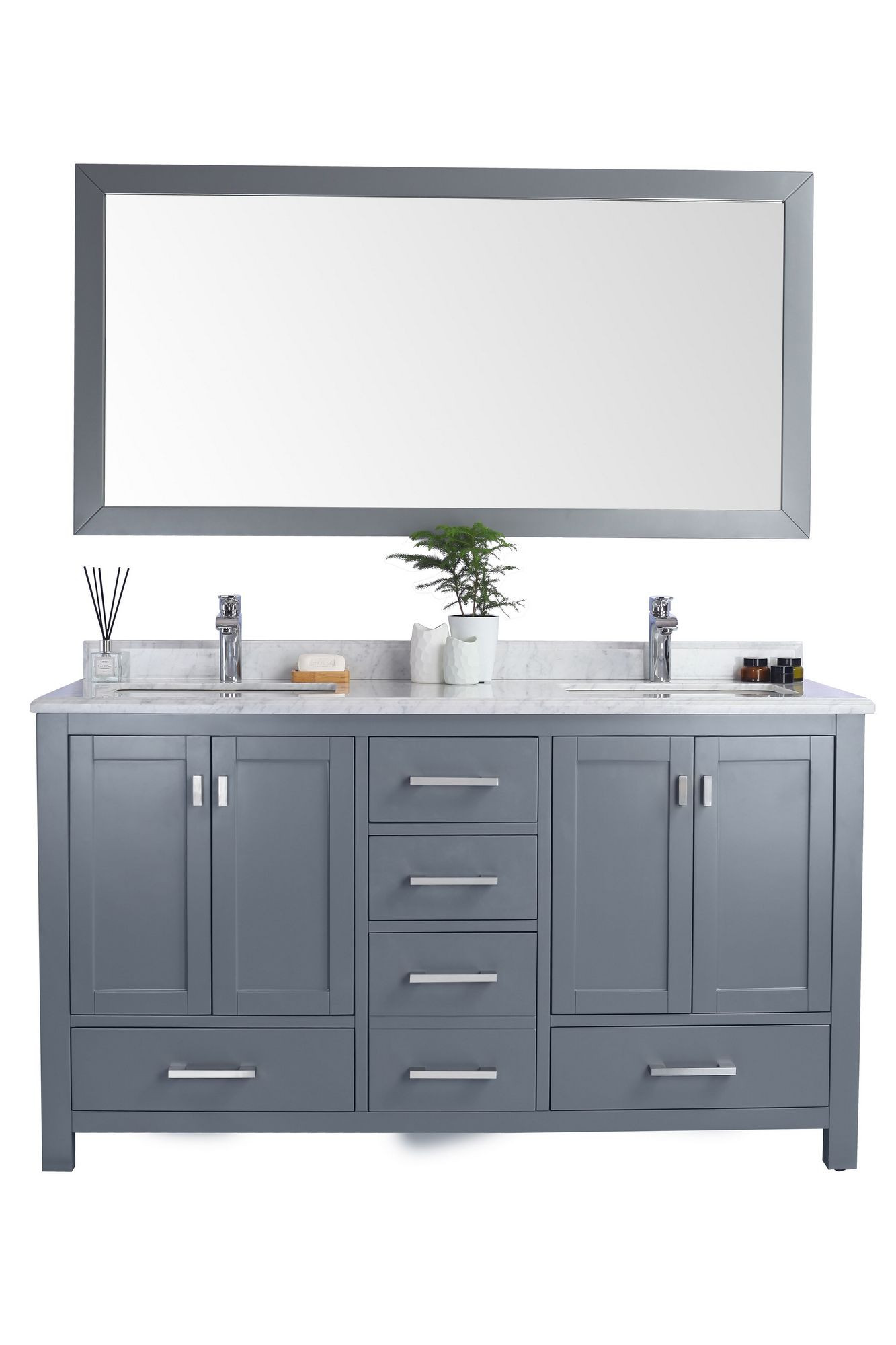 Laviva 313ANG-60G-WC Wilson Vanity In Grey With White Carrara Countertop