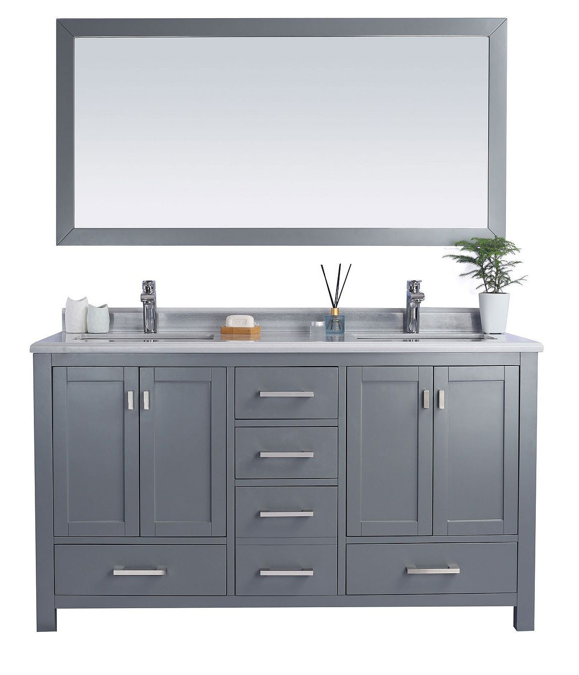 "Laviva 313ANG-60G-WS Wilson 60"" Grey Vanity With White Stripe Countertop"