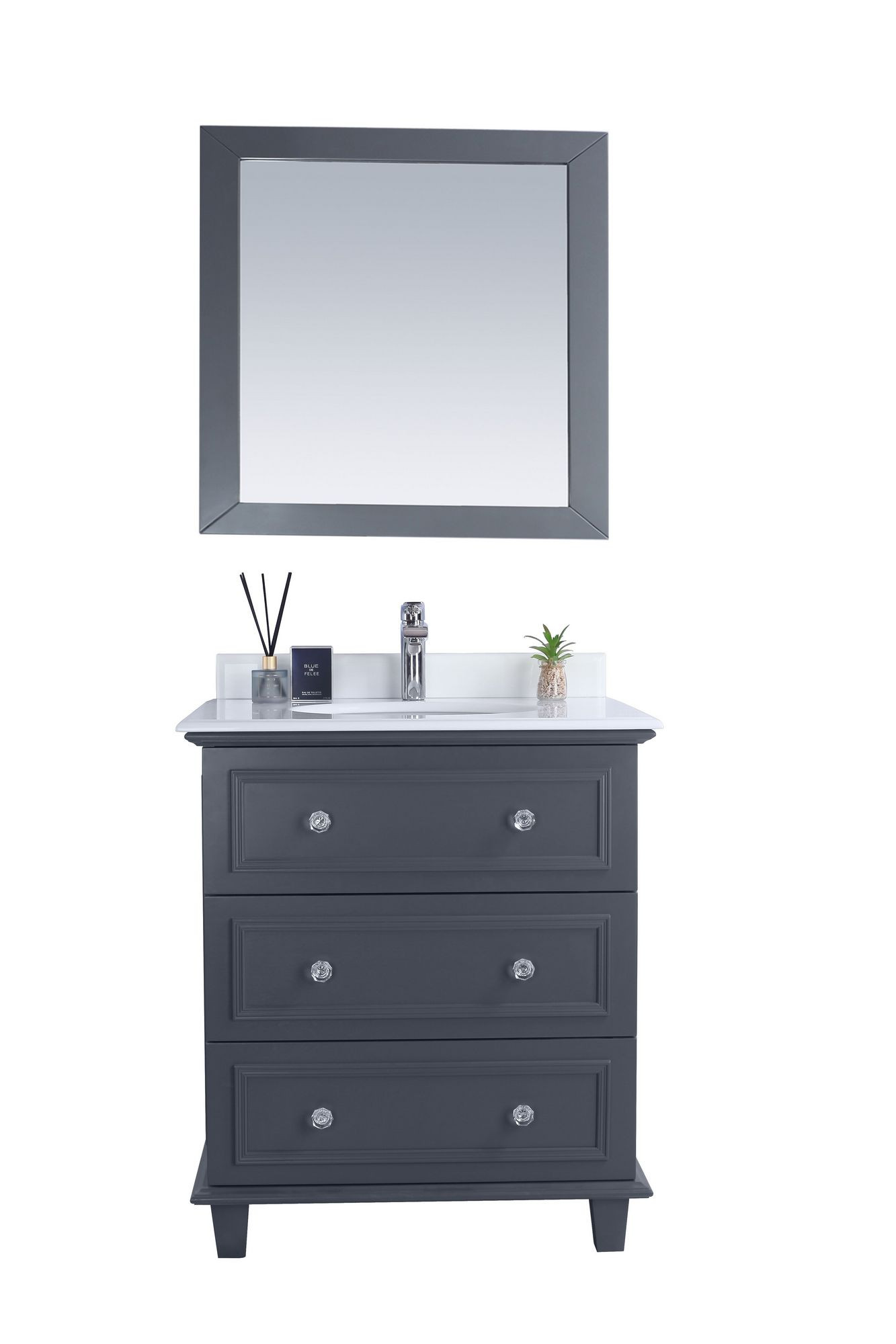 Laviva 313DVN-30G-PW Luna 30 Inch Maple Grey Vanity With Pure White Counter