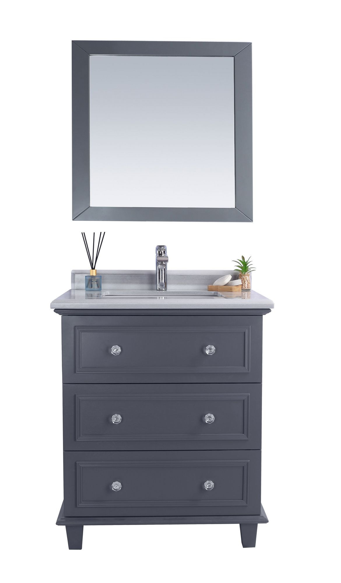 "Laviva 313DVN-30G-WS Luna 30"" Maple Grey Vanity With White Stripes Counter"