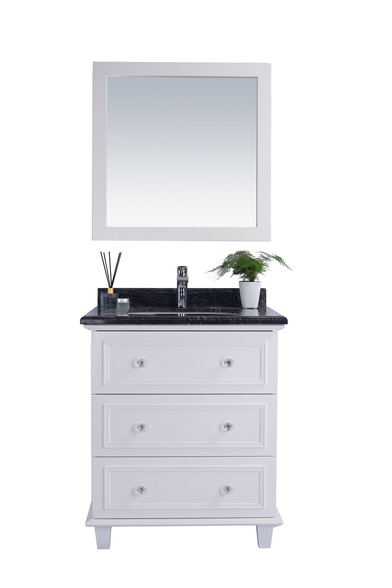 Laviva 313DVN-30W-BW Luna 30 Inch White Vanity With Black Wood Counter
