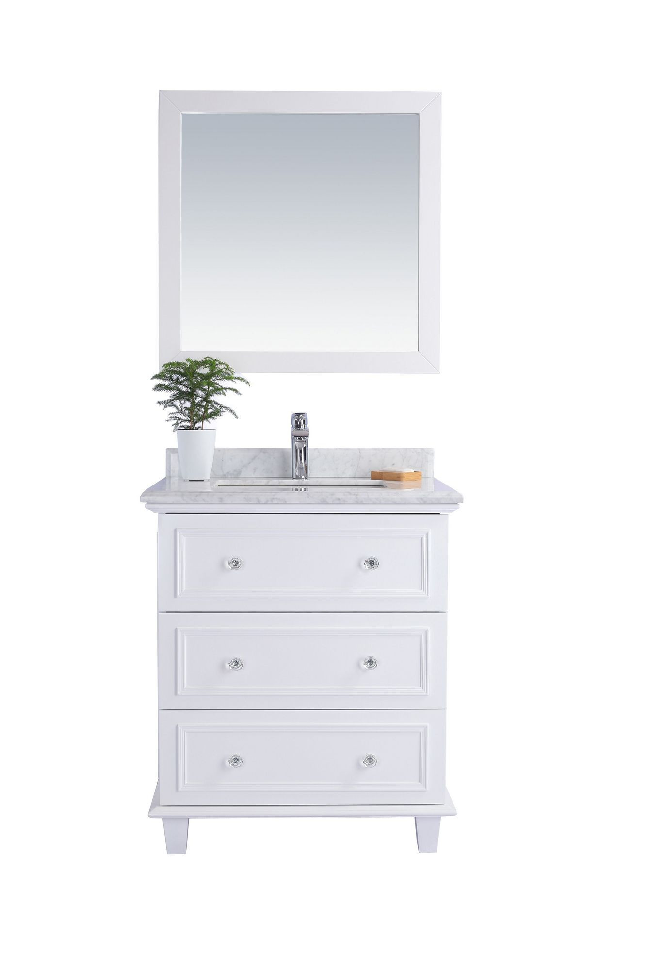 Laviva 313DVN-30W-WC Luna 30 Inch White Vanity With White Carrara Counter