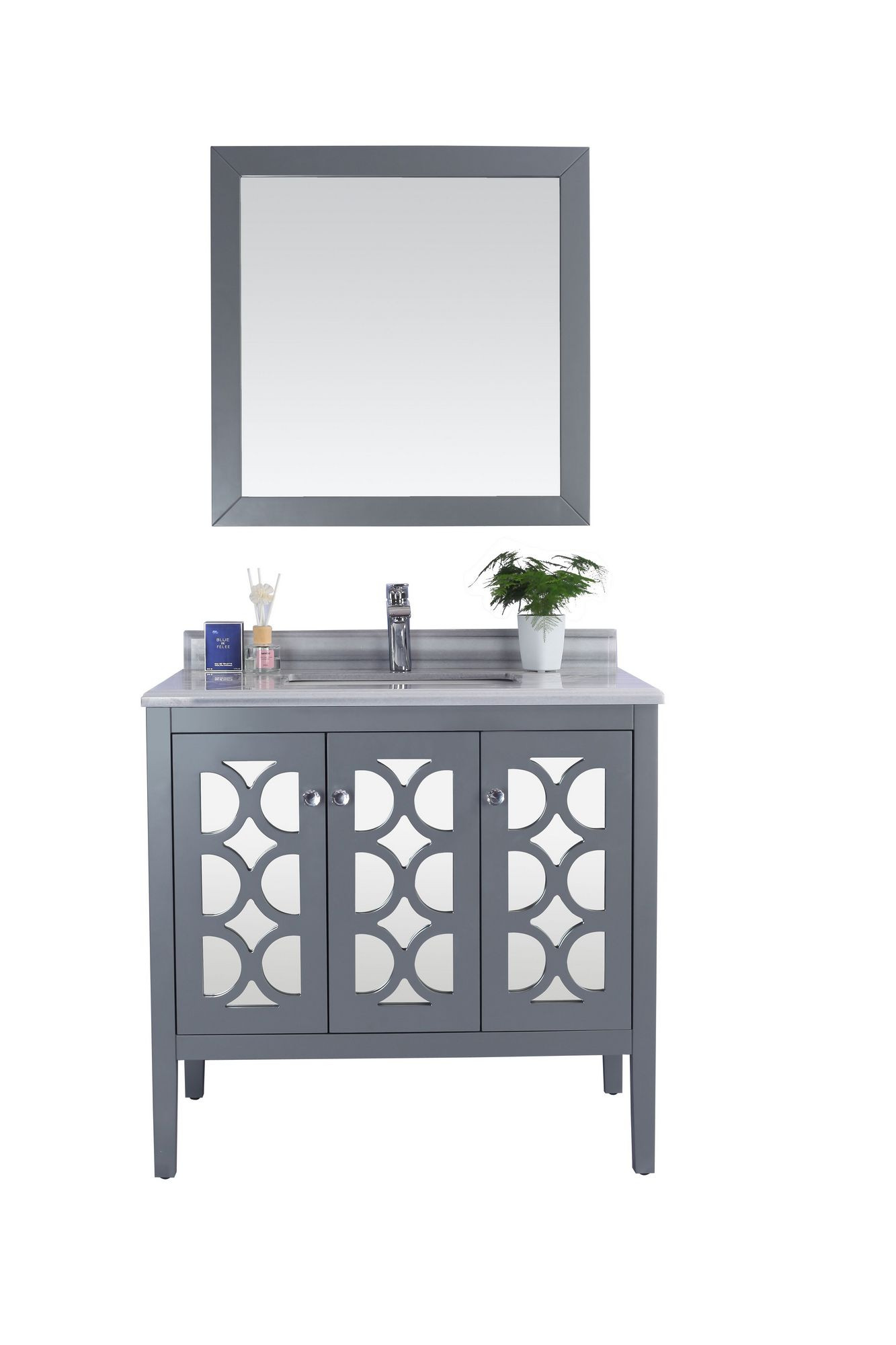 Laviva 313MKSH-36-WS Mediterraneo 36 Inch Vanity With White Stripes Counter