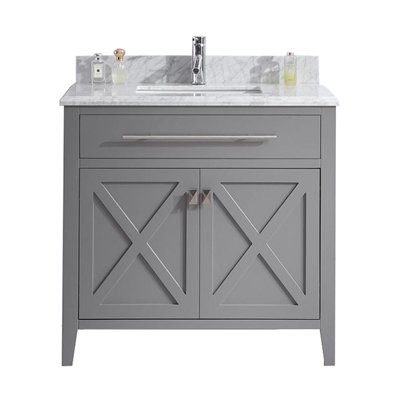 "Laviva 313YG319-36G-WC Wimbledon 36"" Grey Vanity With White Carrera Counter"