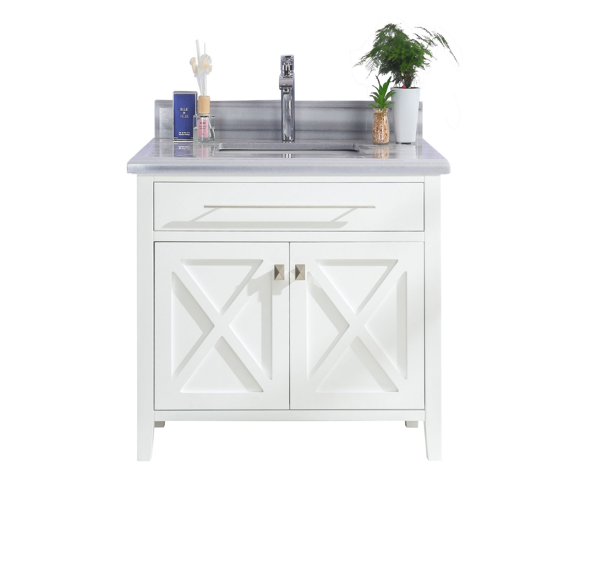 Laviva 313YG319-36W-WS Wimbledon Vanity In White With White Stripes Counter