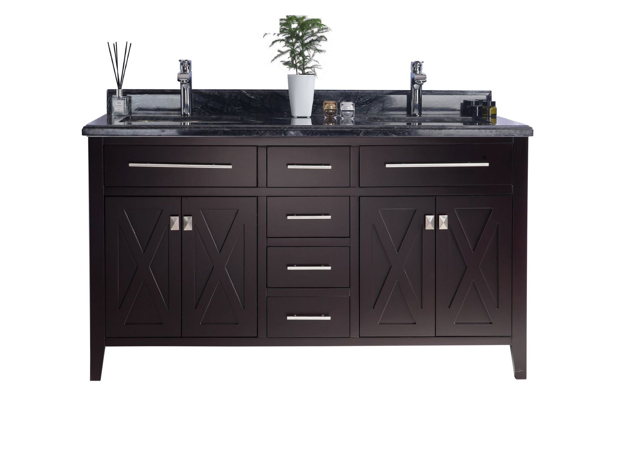 Laviva 313YG319-60B-BW Wimbledon Vanity In Brown With Black Wood Counter