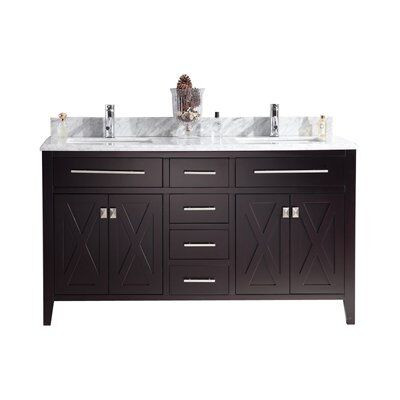Laviva 313YG319-60B-WC Wimbledon Vanity In Brown With White Carrera Counter