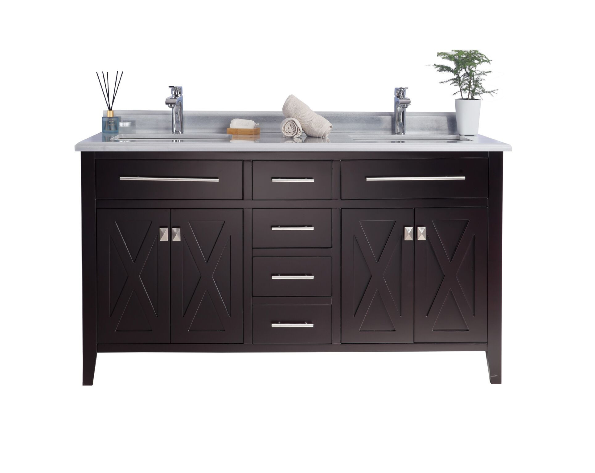 Laviva 313YG319-60B-WS Wimbledon Vanity In Brown With White Stripes Counter